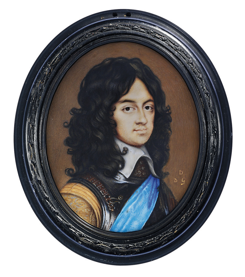 Charles II (1630-1685), as Prince of Wales, in steel cuirass and gorget, buff doublet with patterned sleeves, white lawn collar, wearing the blue sash of the Order of the Garter, natural curling brown hair