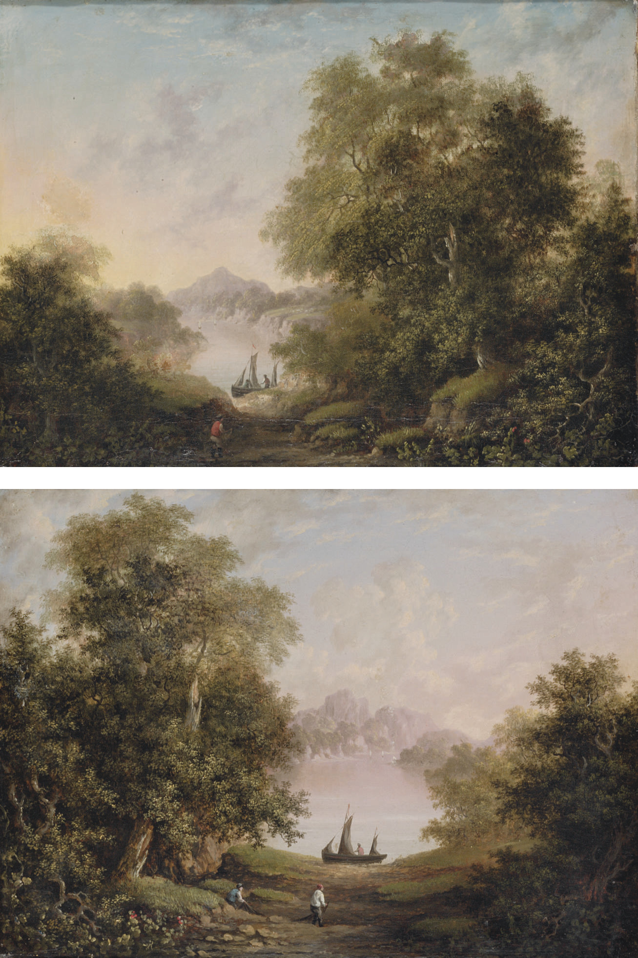 Fishermen on the banks of a river; and Figure on the bank of a river