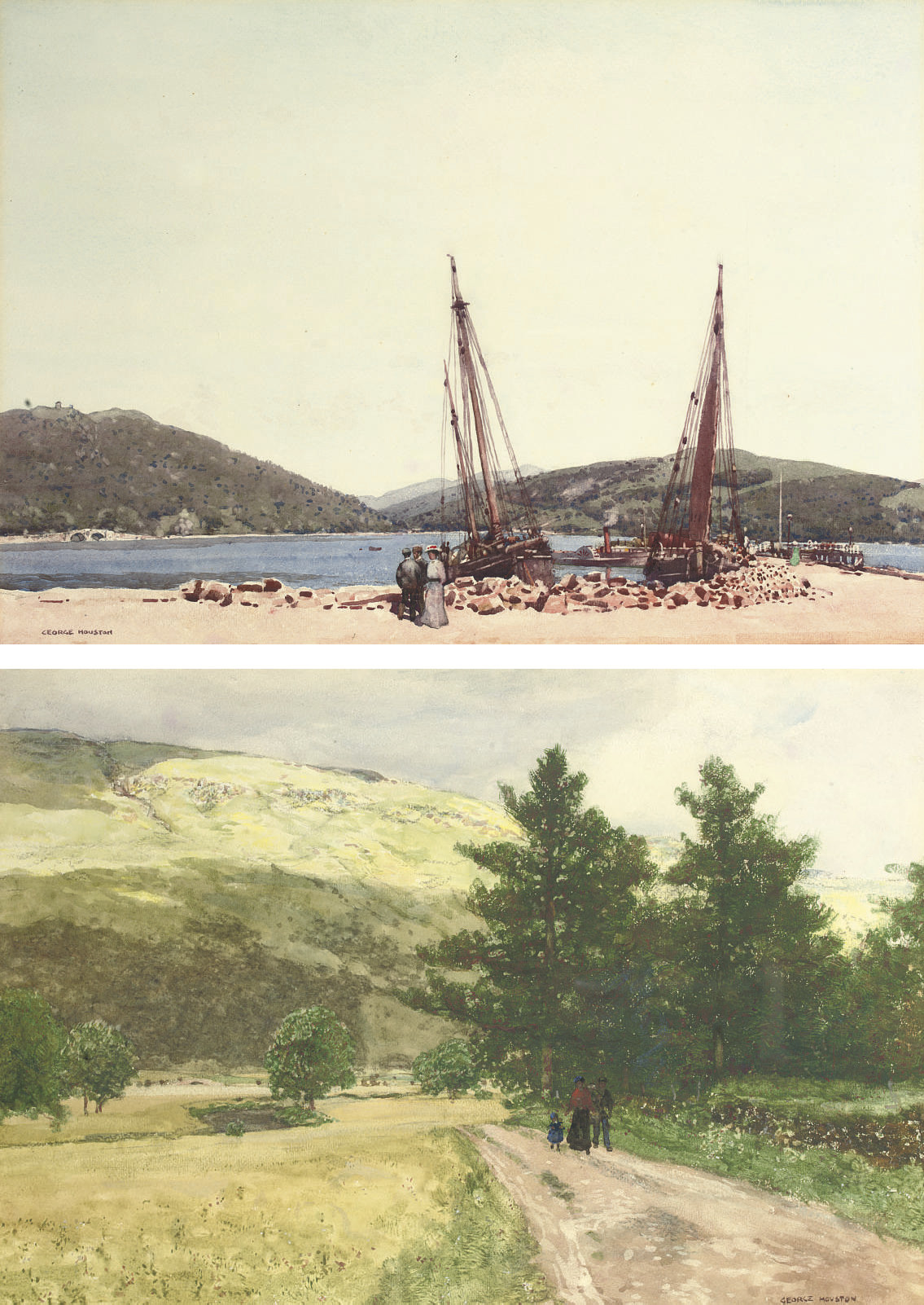 The harbour at Inveraray, Argyll; and A Galloway landscape