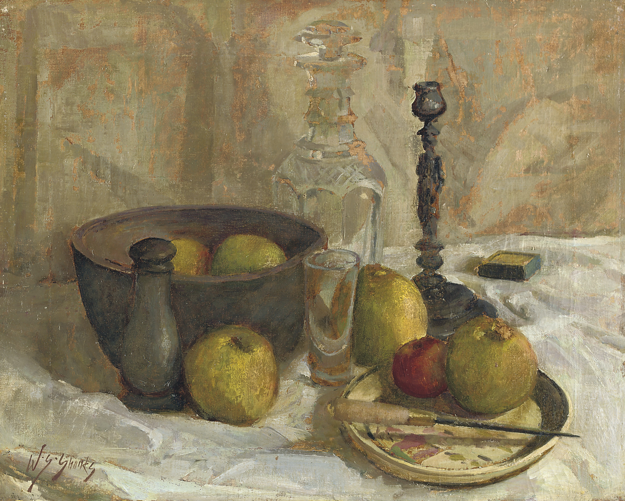 Still life with fruit and a decanter