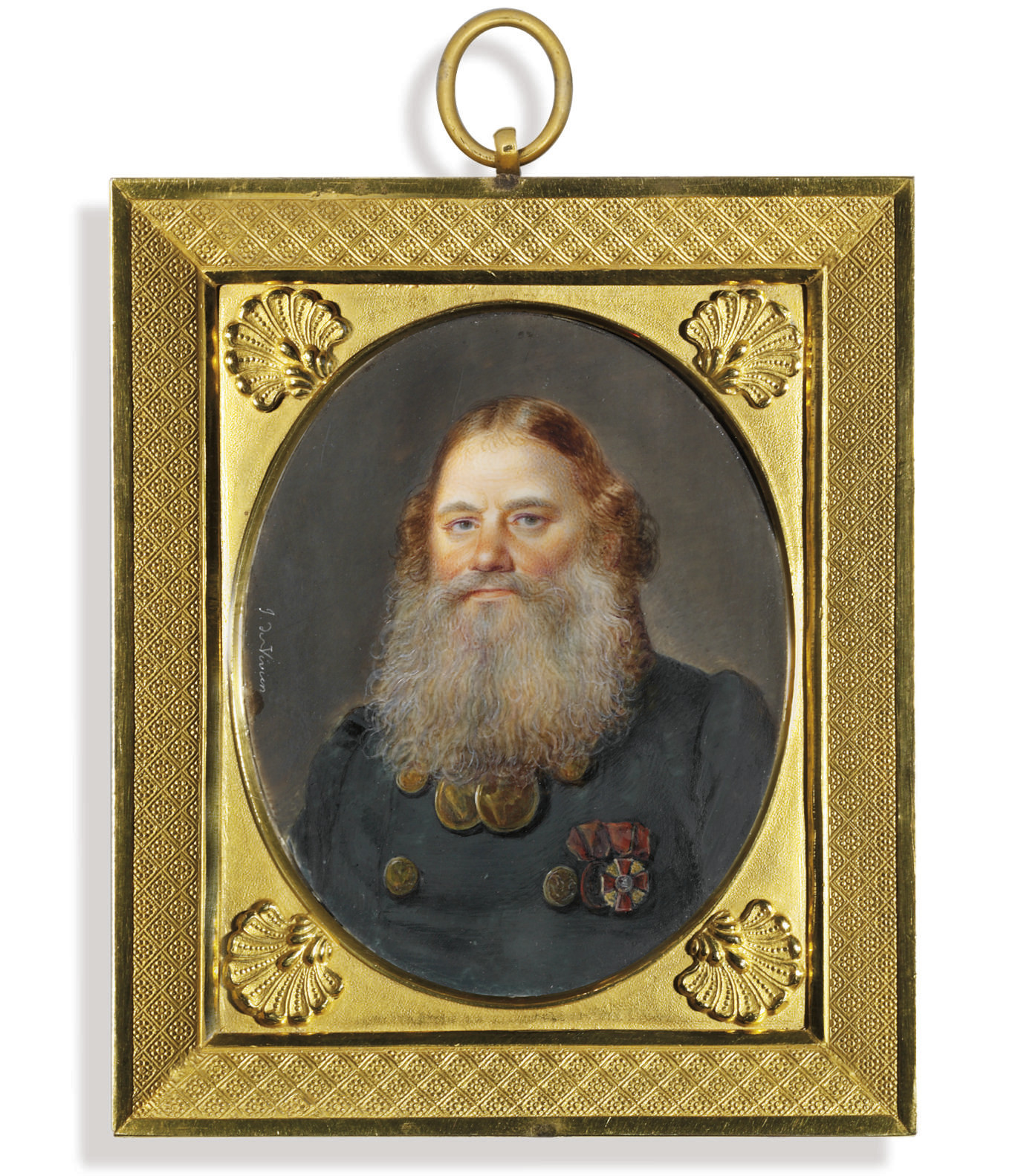 Ilya Ivanovich Baikov (1768-1838), in double-breasted loden green coat with gilt buttons, wearing the badges of the Imperial Russian Order of St. Anne (3rd class), the bronze medal for the Campaign of 1812 with the ribbon of St. Anne and, around his neck, two presentation medals for Zeal from Tsar Alexander I, long red hair and grey beard