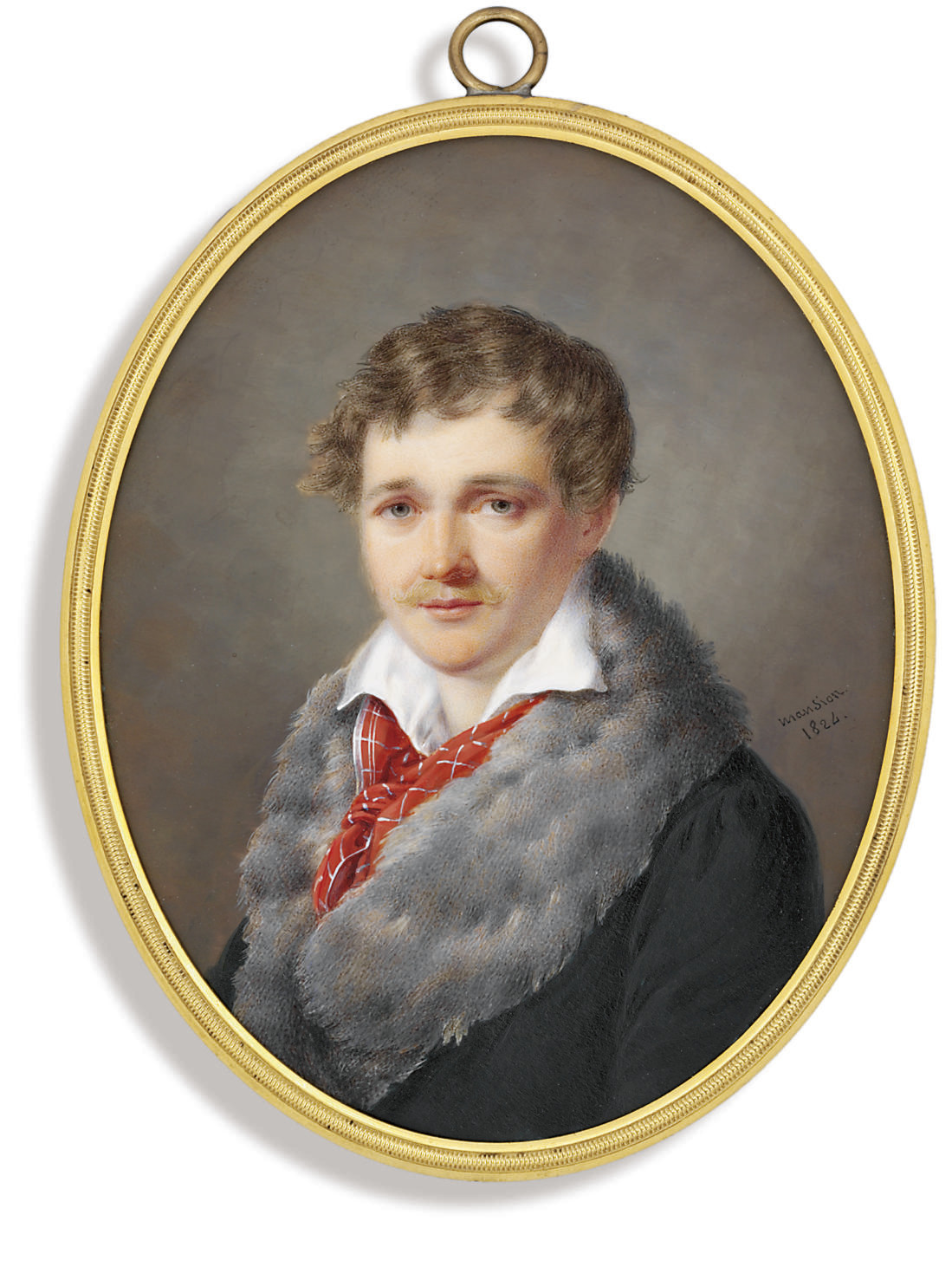 A young gentleman called Alexandre L[...], in fur-bordered bottle green coat, open white shirt and red checked scarf loosely knotted, fair hair and moustache