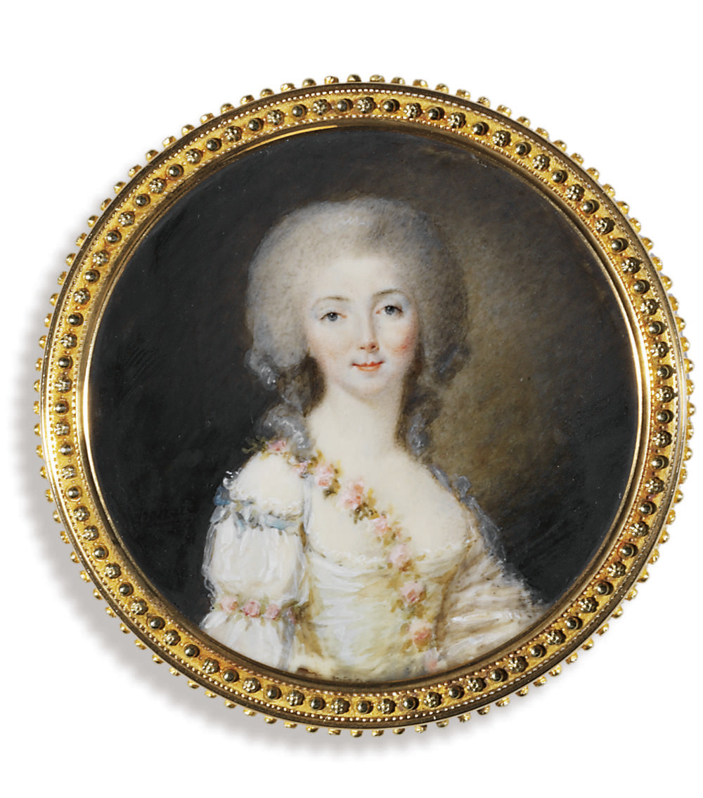 A young lady, in white dress with lace trim with garland of pink flowers draped over her right shoulder and another tied around her right arm at the elbow, blue ribbon tied with a bow at her right shoulder, loose powdered hair dressed 'à la conseillère'