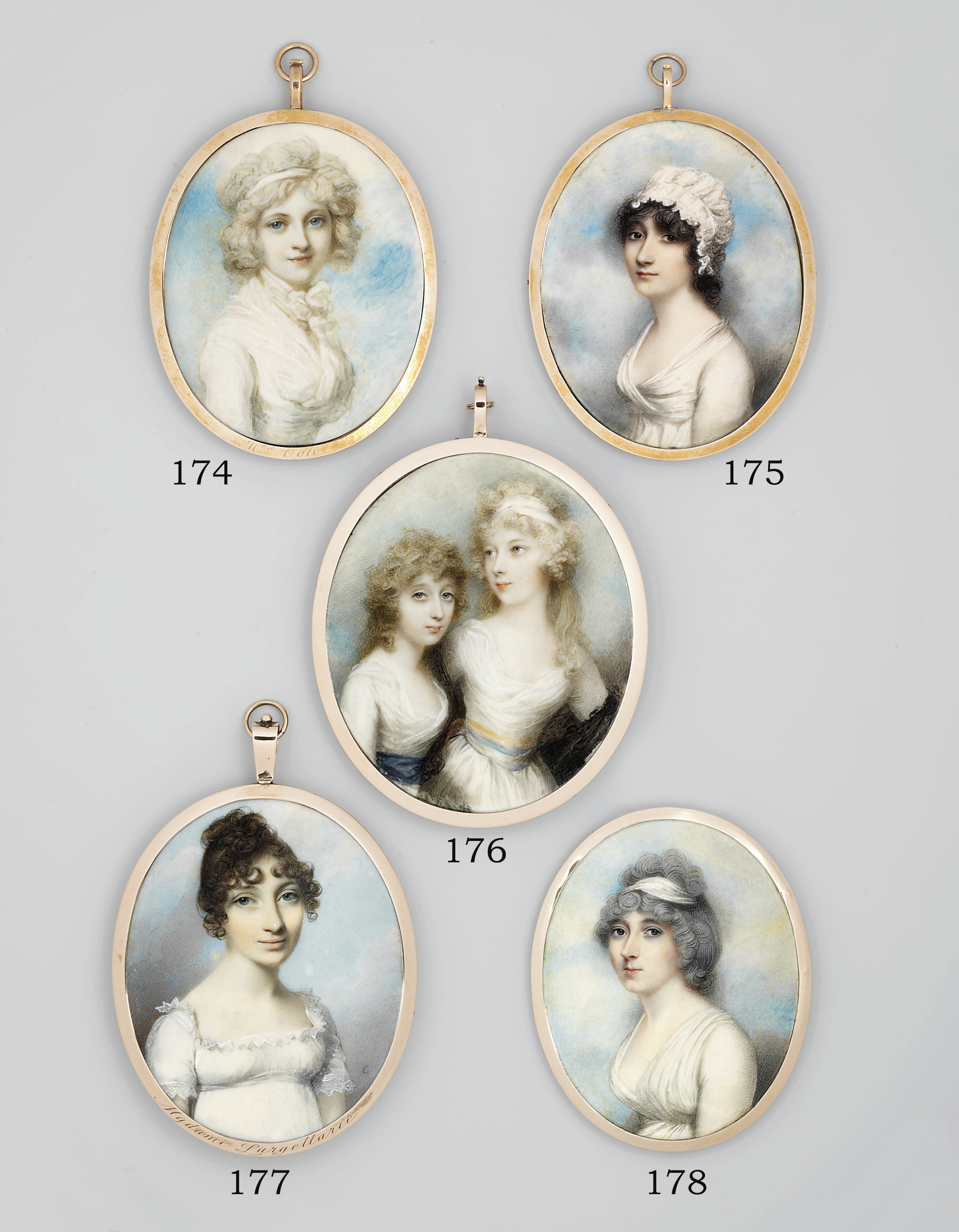 Lady Anne Hudson (1775-1826), in white dress with yellow, blue and white striped sash, a black lace stole over her arms, a white bandeau in her powdered curling hair, with her sister, the Duchess of Leeds (1776-1856), in white dress with dark blue sash, curling fair hair; sky background