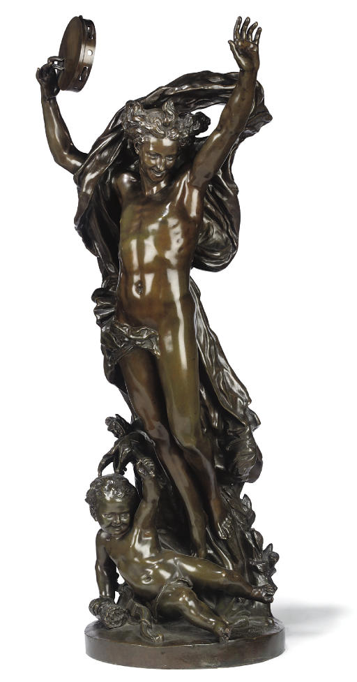 A FRENCH BRONZE GROUP ENTITLED 'GENIE DE LA DANSE'