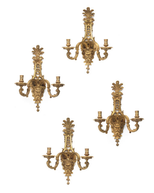 A SET OF FOUR FRENCH ORMOLU TWIN-LIGHT WALL-APPLIQUES