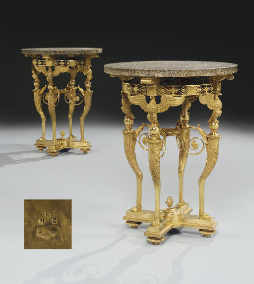 A PAIR OF RARE FRENCH ORMOLU AND GRANITE GUERIDONS