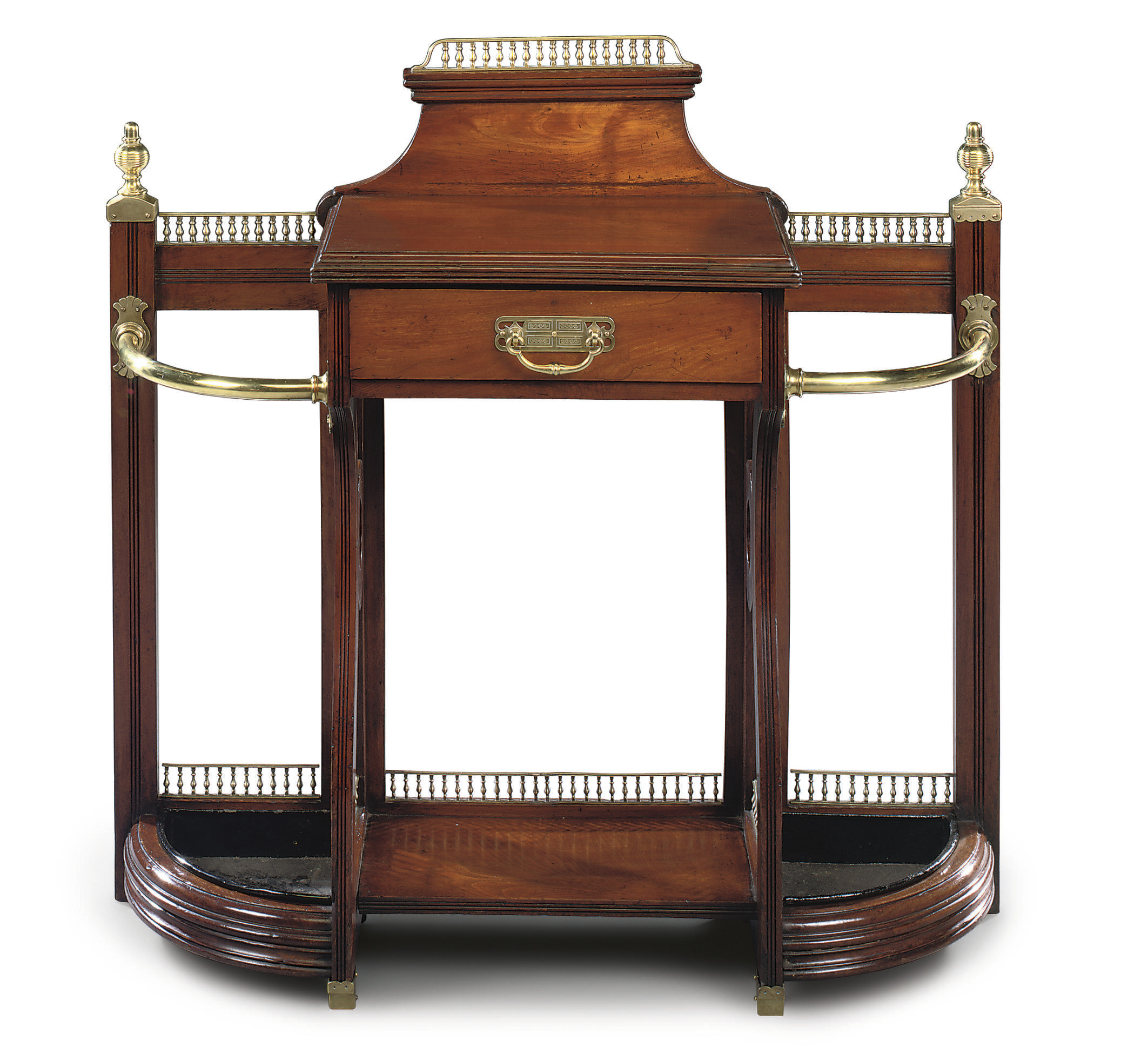 A LATE VICTORIAN BRASS-MOUNTED WALNUT HALL STAND