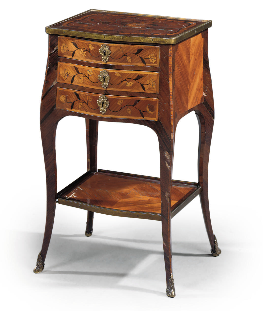 A LOUIS XV ORMOLU-MOUNTED TULIPWOOD, AMARANTH AND MARQUETRY SERPENTINE TABLE DE SALON