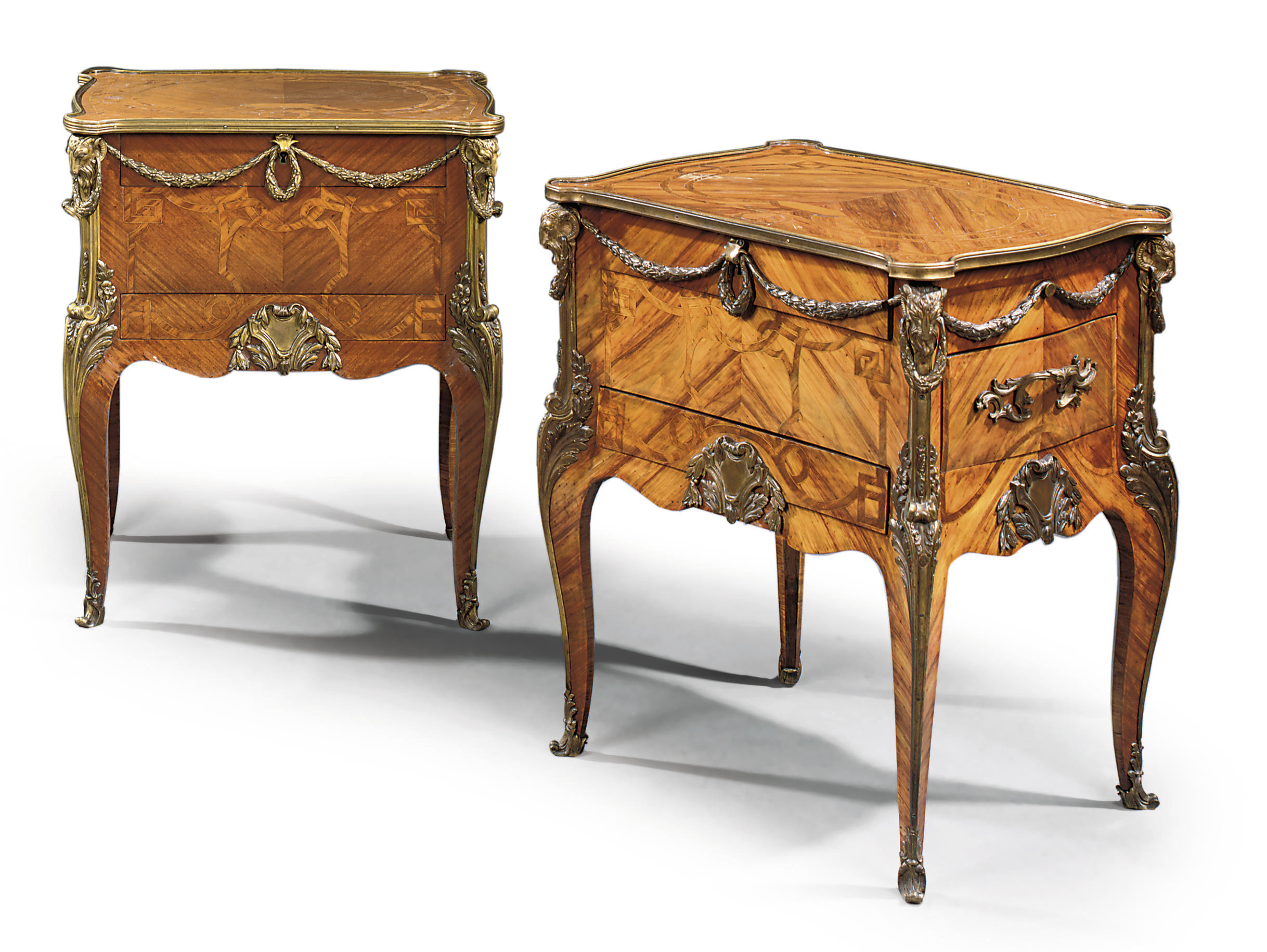 A PAIR OF ORMOLU-MOUNTED MARQUETRY MAHOGANY AND TULIPWOOD TABLES A ECRIRE