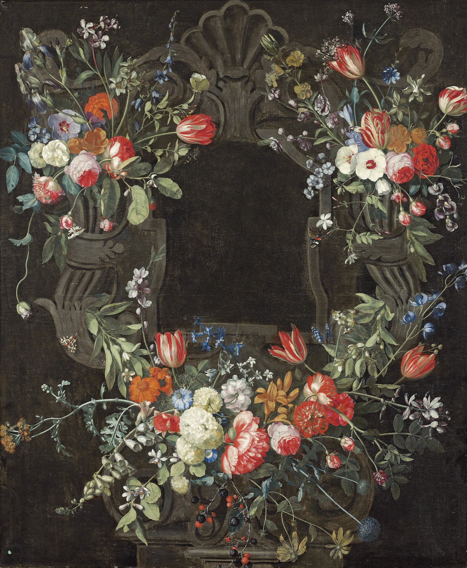 A garland of snowballs, roses, tulips, irises, lilies, daffodils and other flowers decorating a sculpted niche, with butterflies