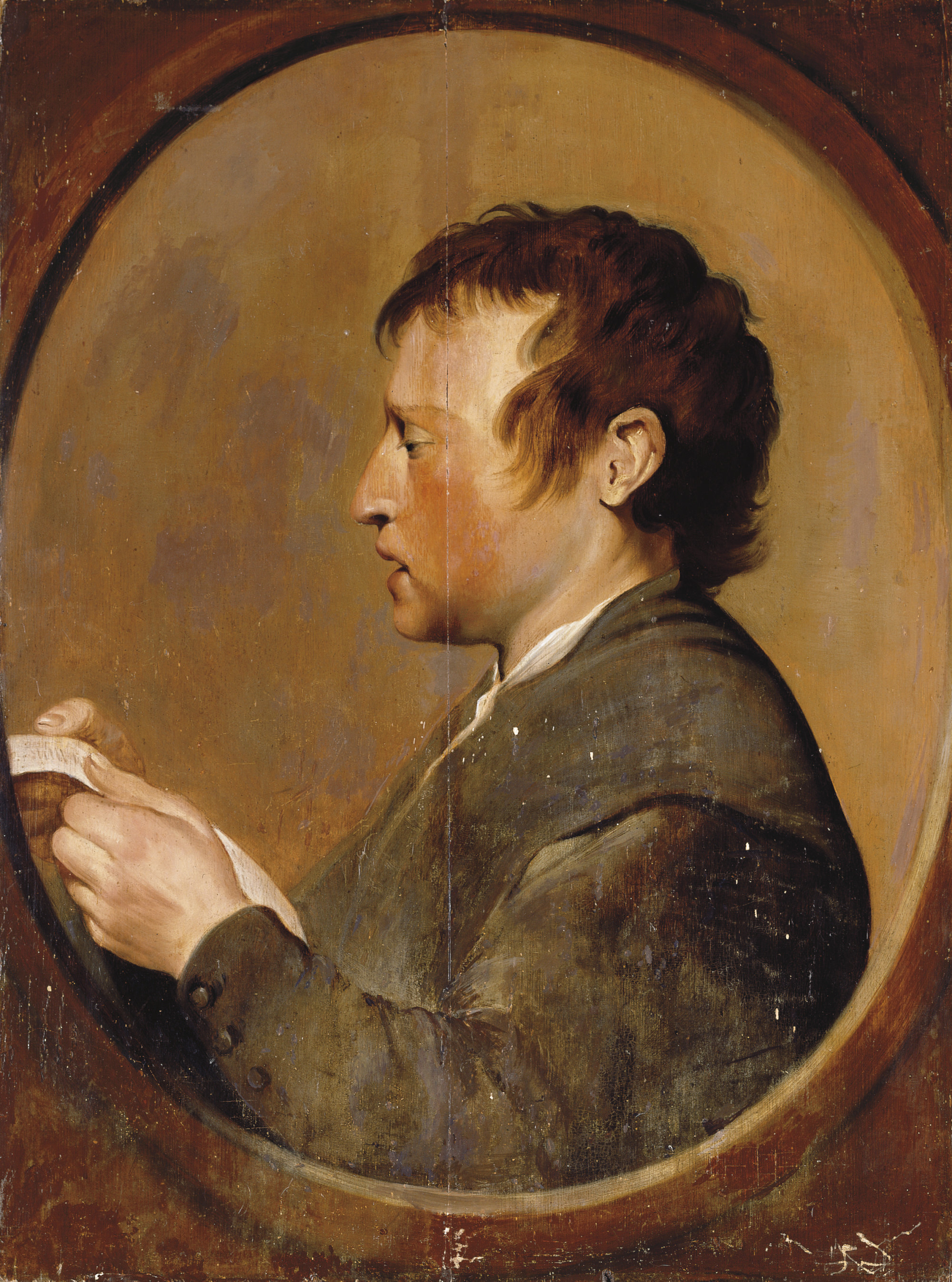 A boy, in profile, singing, in a feigned oval