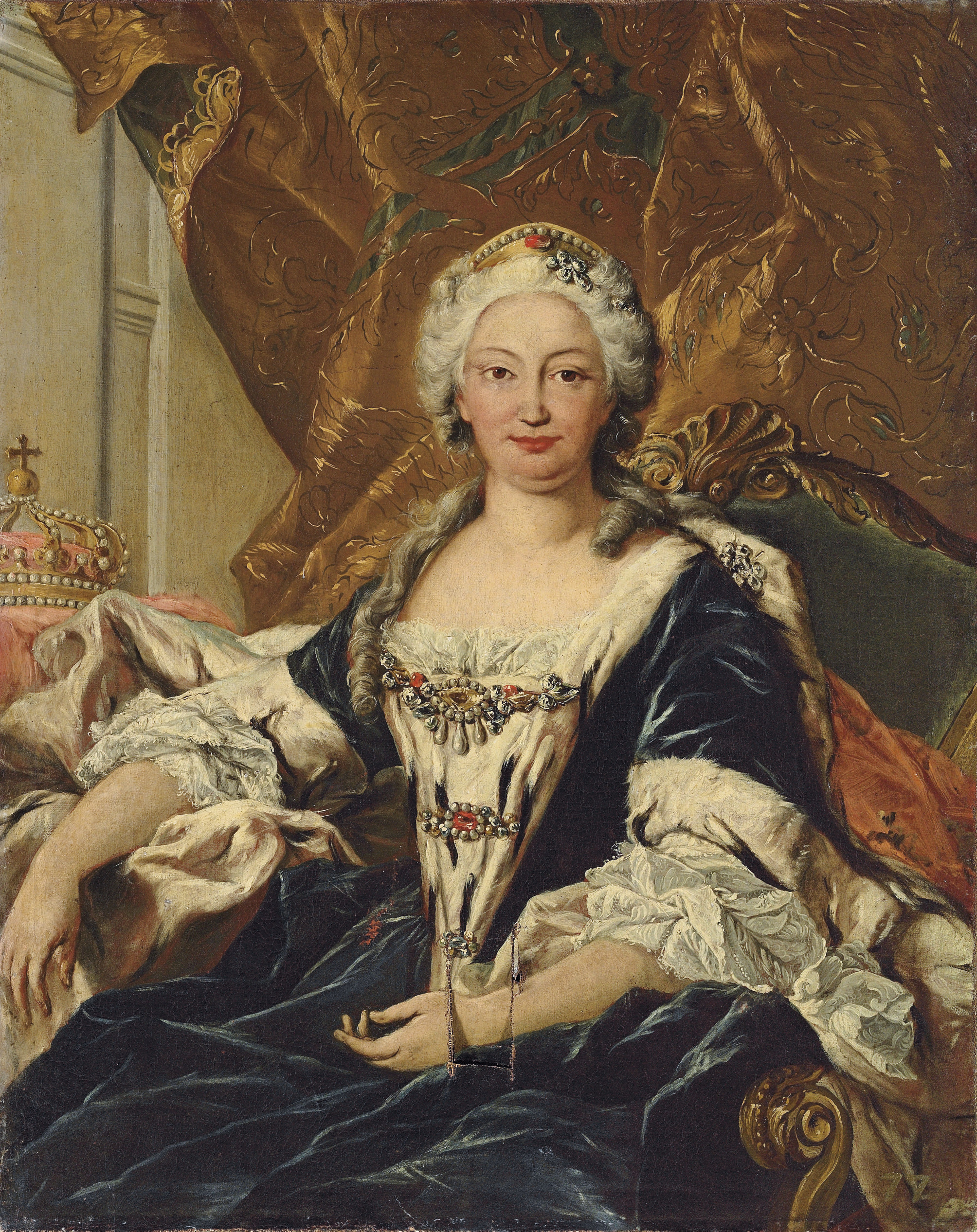 Portrait of Elisabetta Farnese, Queen of Spain, seated three-quarter-length, in an ermine-lined cloak, with a crown beside her, in a draped interior
