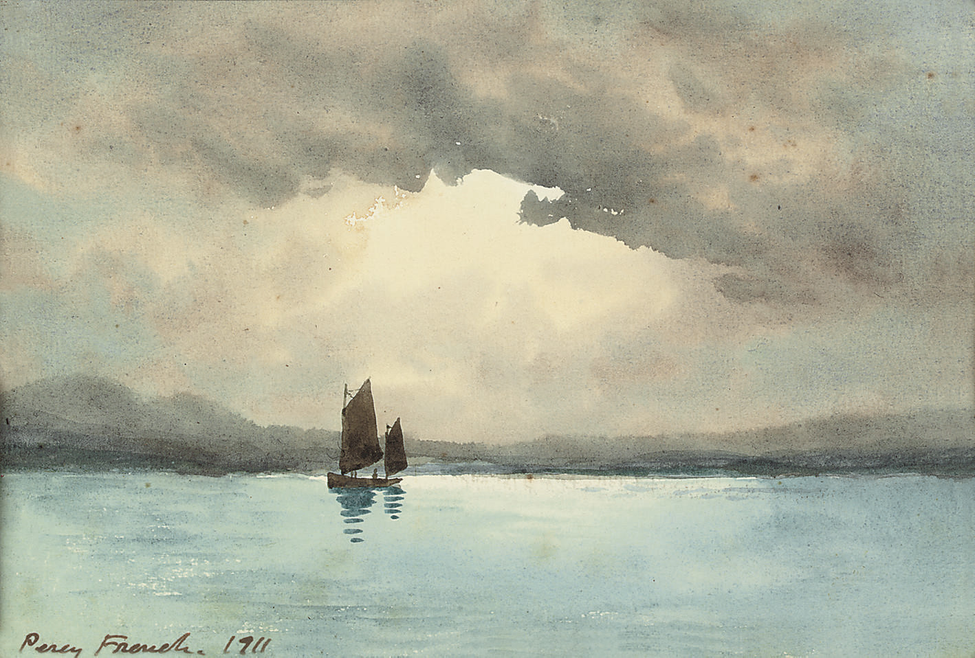 A sailing boat on a lake