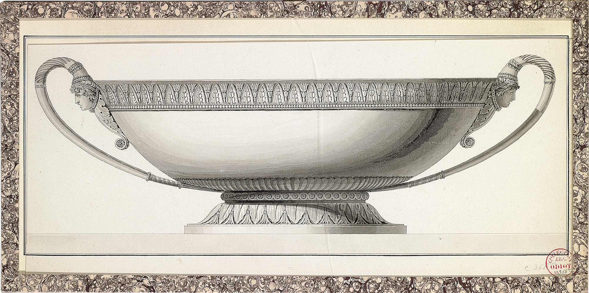 Design for a dish chased with foliage and with Grecian masks at the handles