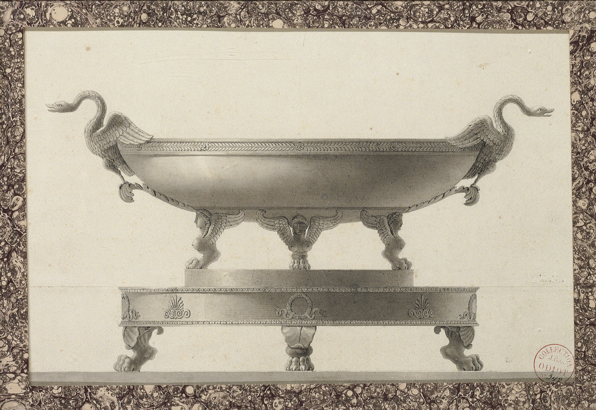 Design for a tazza with swan handles on a platter with lion's paw feet
