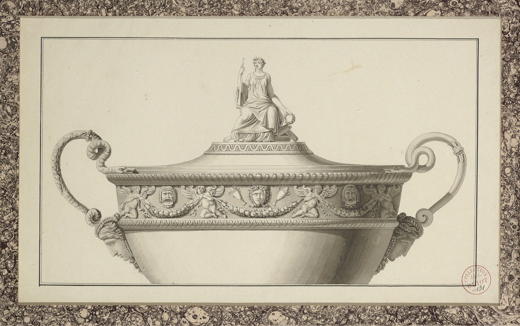 Design for the upper part of a tureen crowned with the figure of Calliope bearing a trumpet and laurel crown, and decorated with a frieze of masks and putti holding garlands