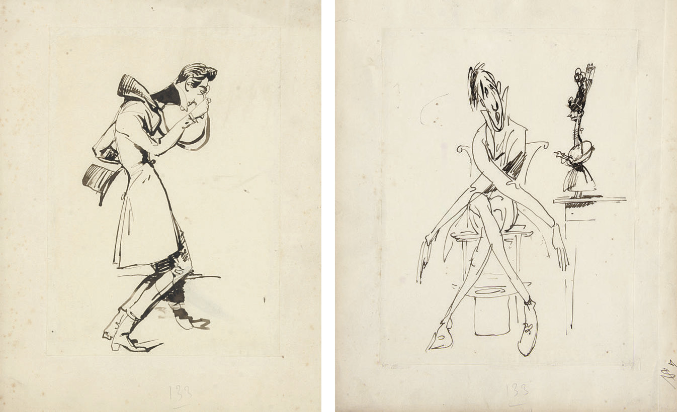 A caricature of a gentleman peering through a monocle; and A caricature of a seated gentleman, a top hat under his chair