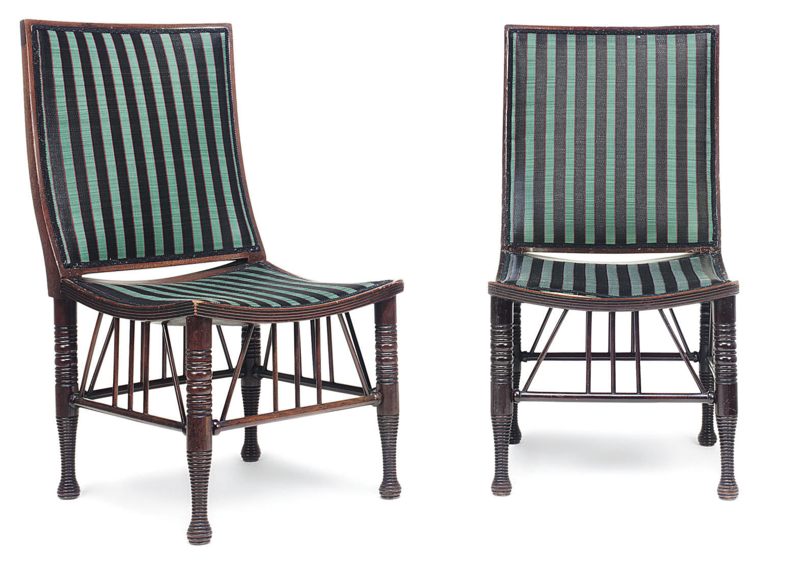 A PAIR OF ARTS AND CRAFTS MAHOGANY 'THEBES' SIDE CHAIRS