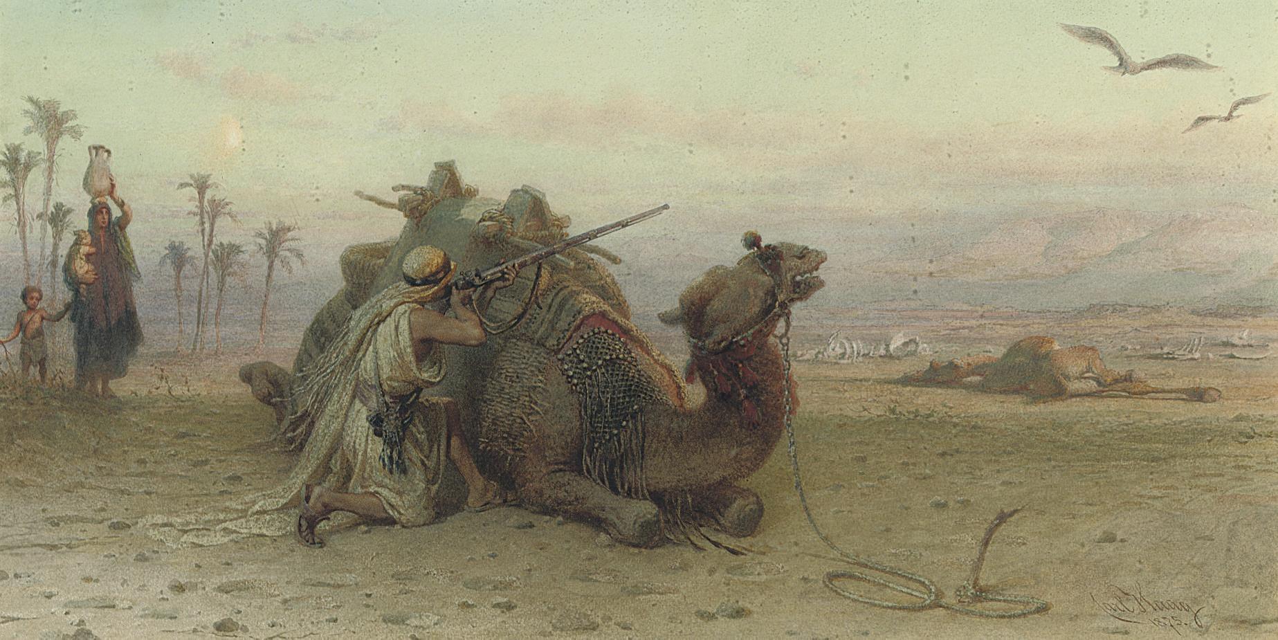 An Arab defending his family