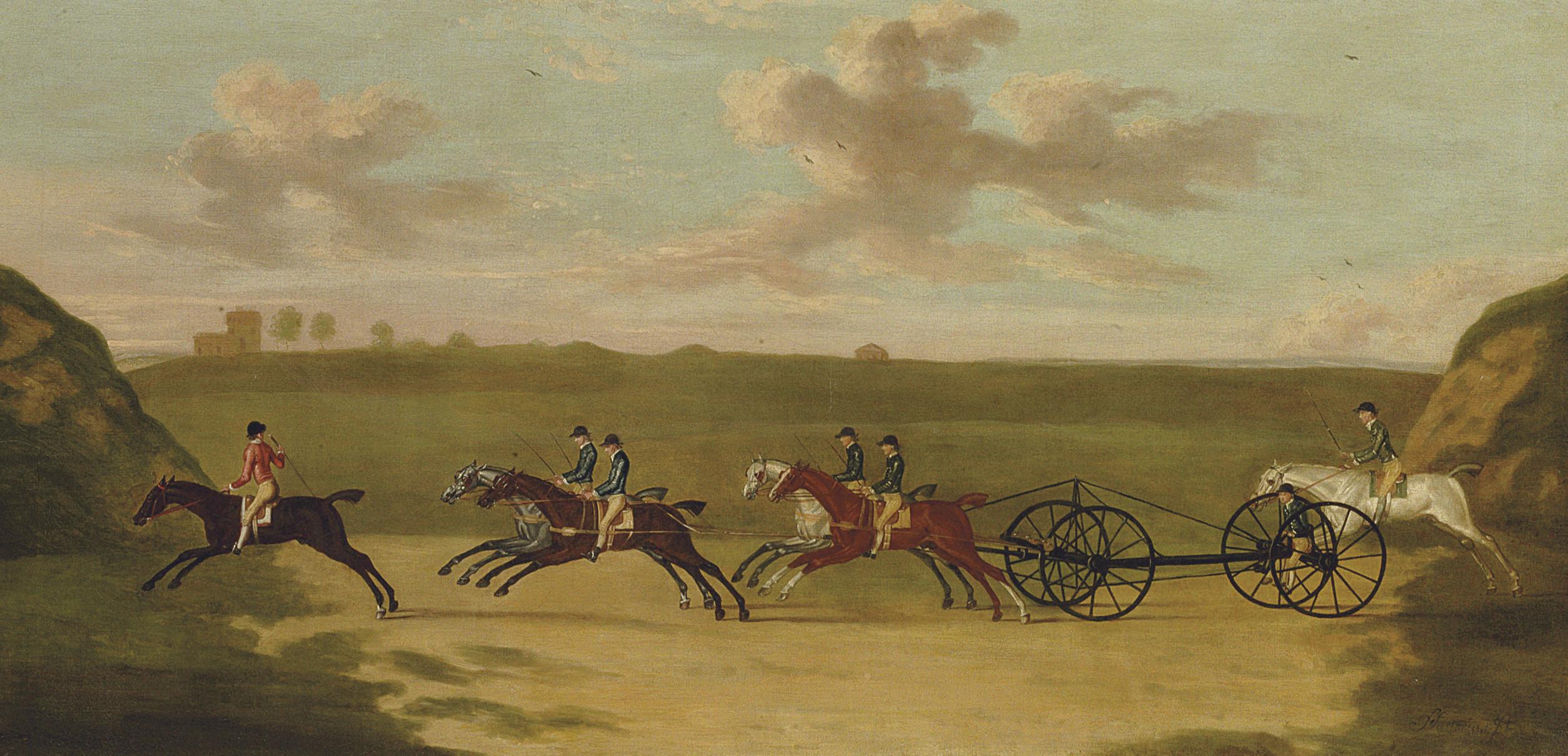 The chaise match, run on Newmarket Heath, Wednesday 29 August, 1750