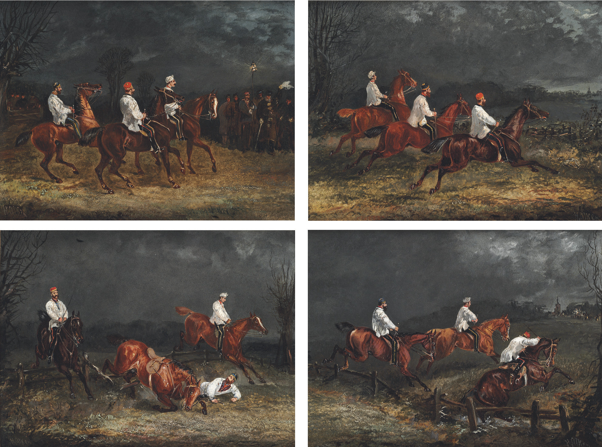 The Night Riders at Nacton: The Start; First Jump: The Fall; and The Finish