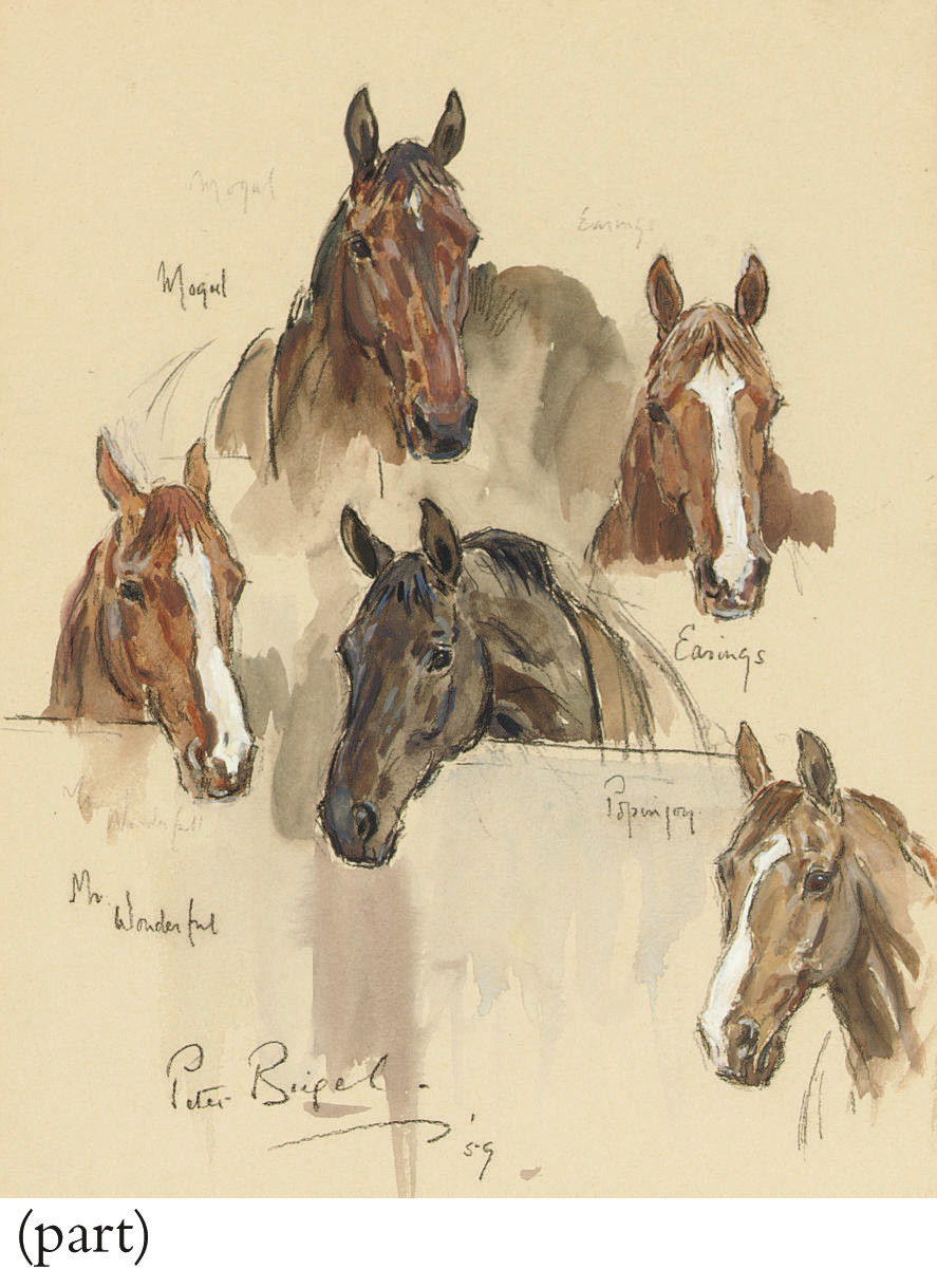 Three studies of race horses; including Duke in the stable yard; and Study of J.L.K.'s Wilcox