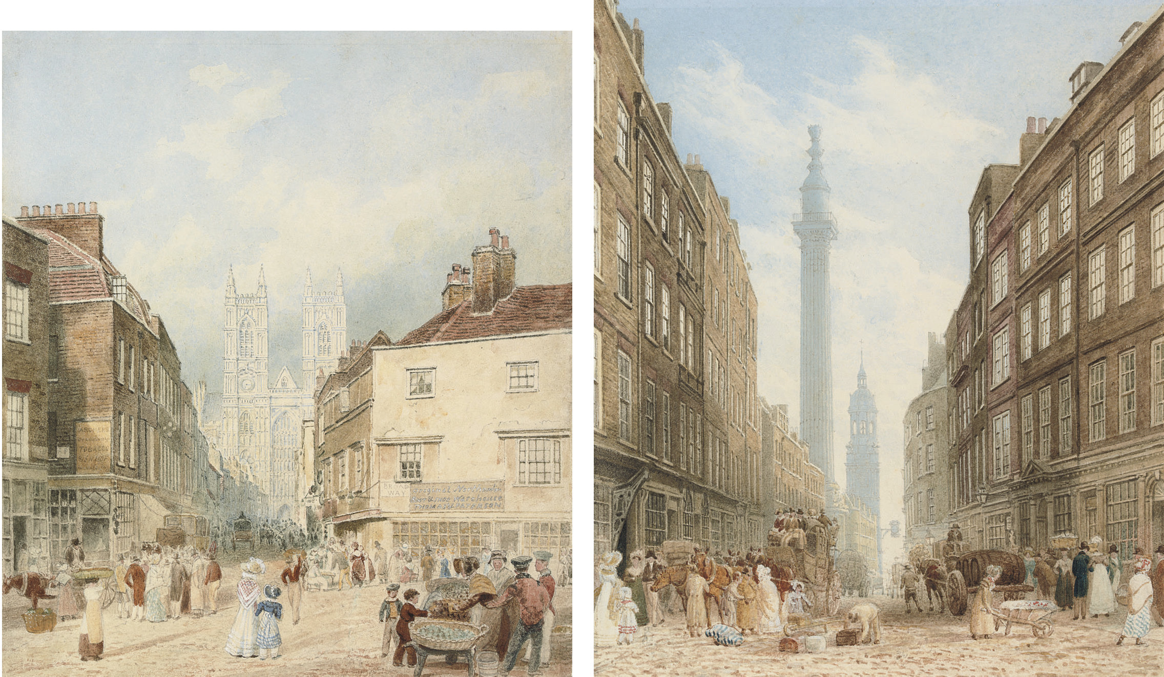 View of Tothill Street with Westminster Abbey beyond; and View of Gracechurch Street with the Monument and the church of St. Magnus the Martyr beyond