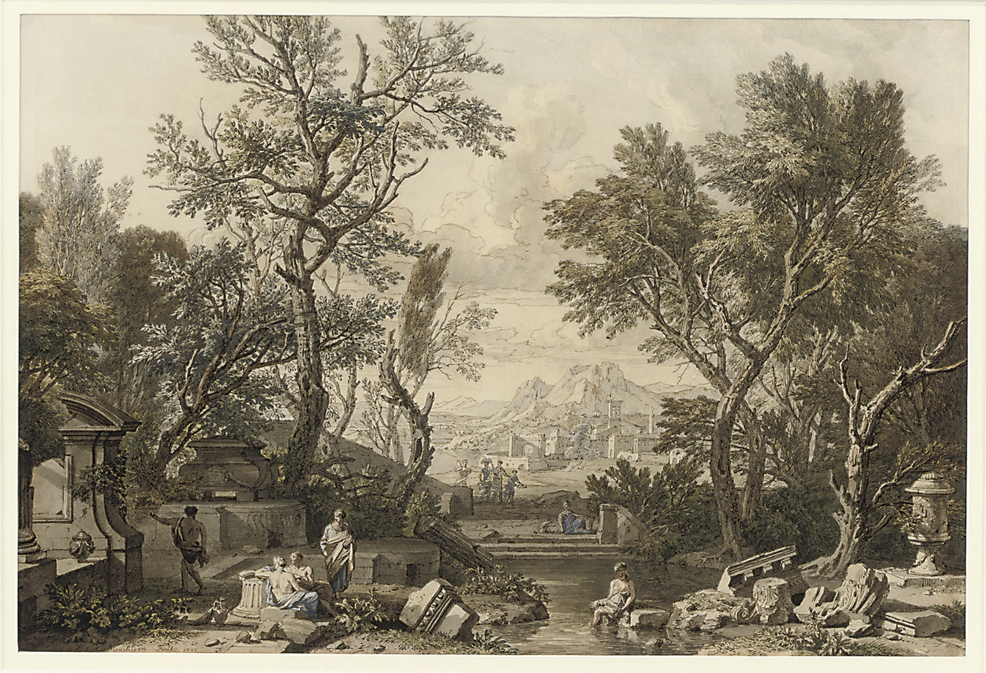Classical figures amongst ruins in an Arcadian landscape