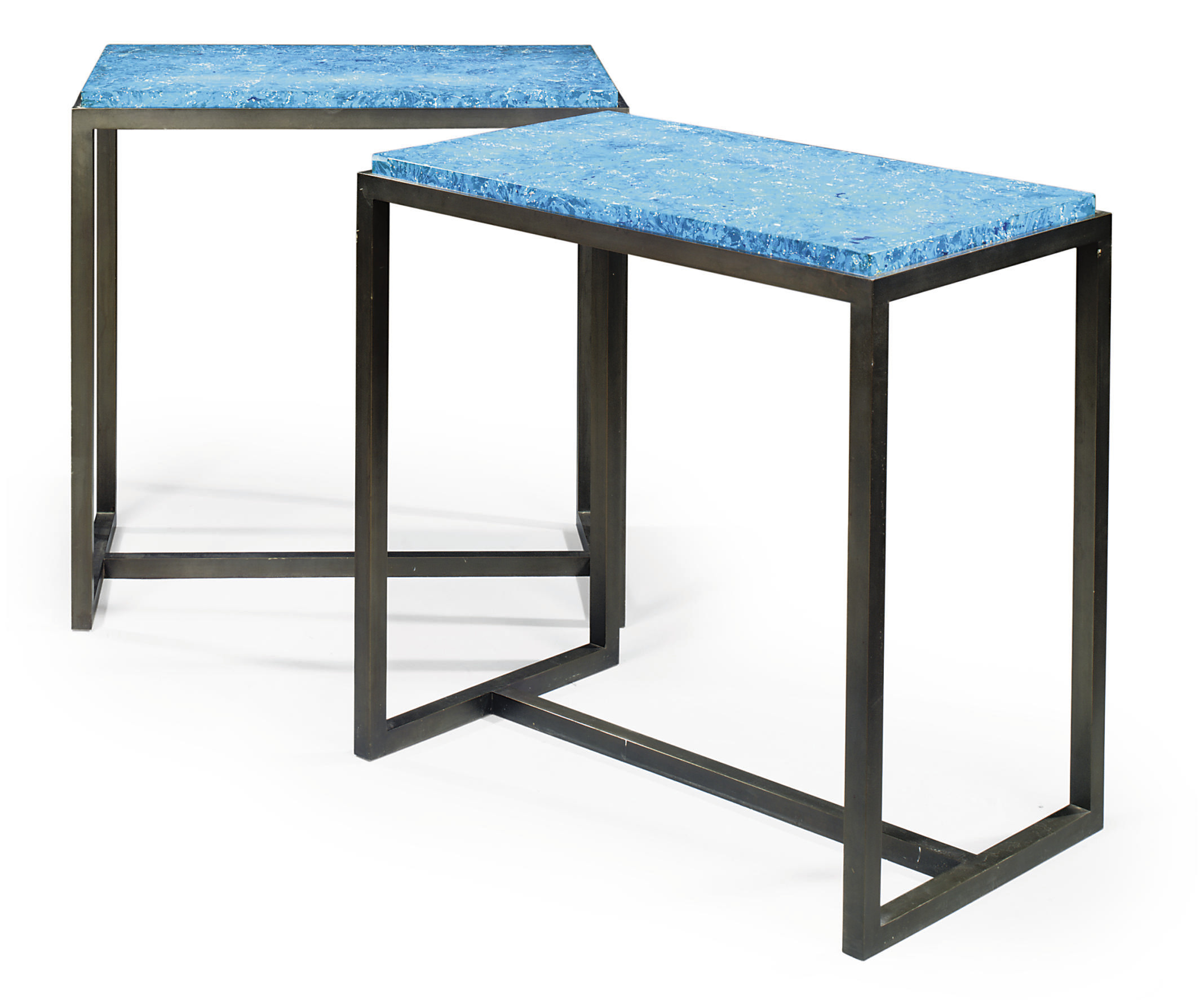 A PAIR OF BLACKENED STEEL AND SCAGLIOLA SIDE TABLES