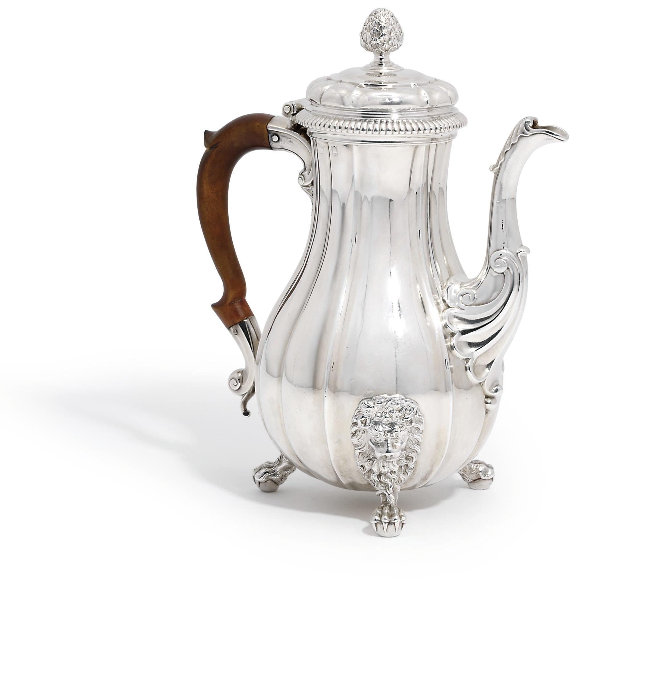 A GEORGE II SILVER COFFEE-POT