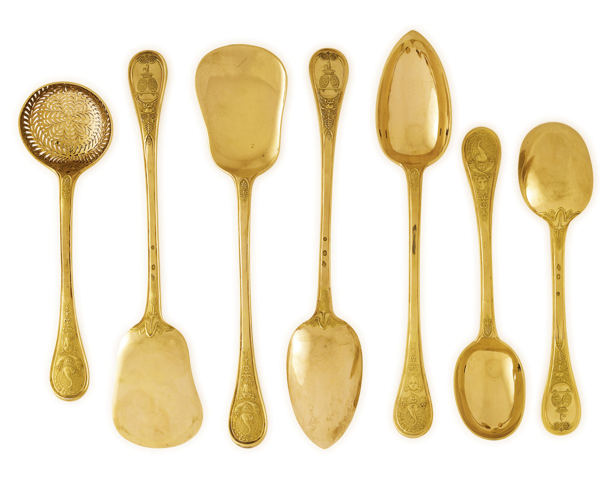 SEVEN FRENCH SILVER-GILT SERVING PIECES FROM THE BRANICKI SERVICE