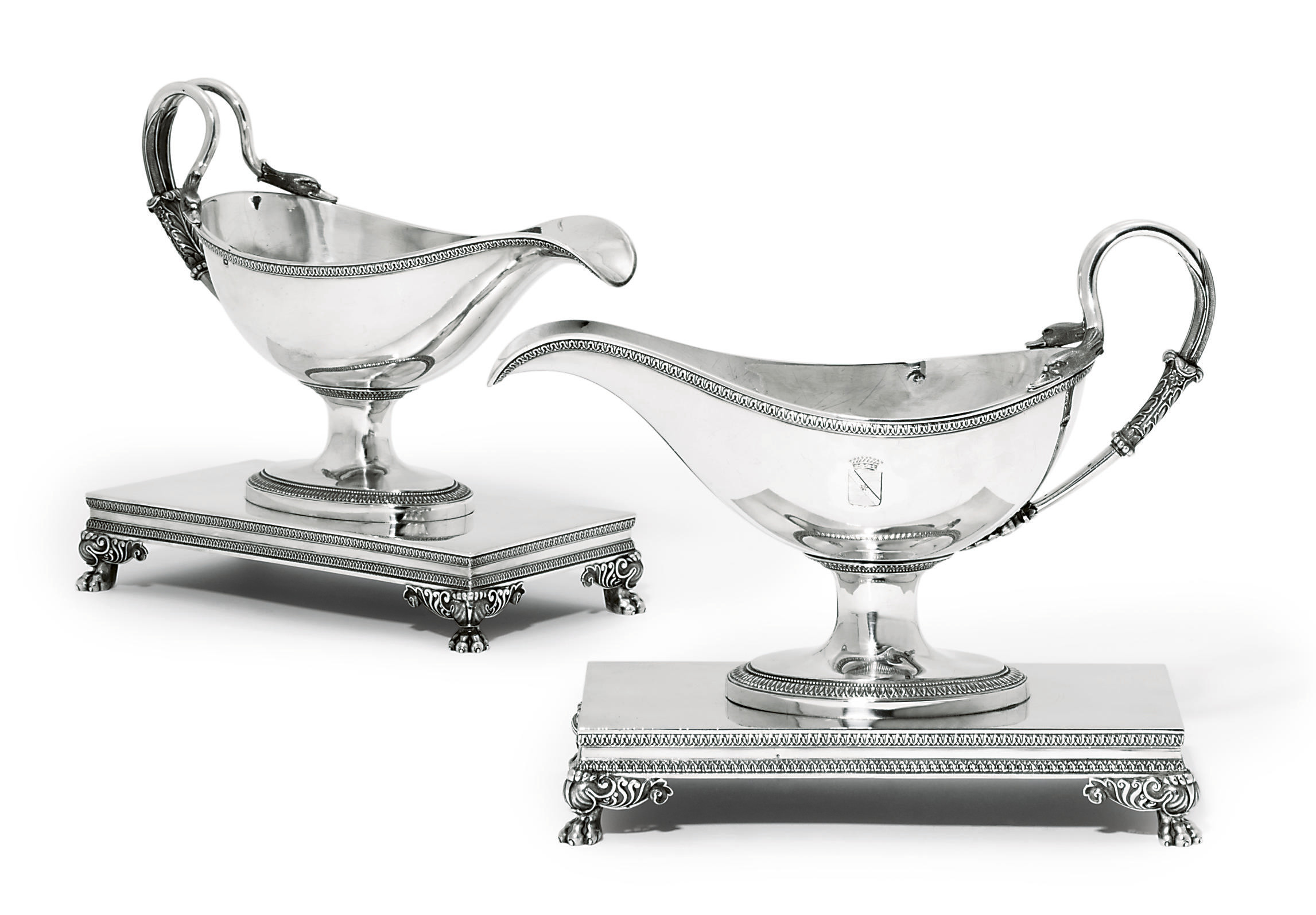 A PAIR OF FRENCH SAUCEBOATS AND STANDS