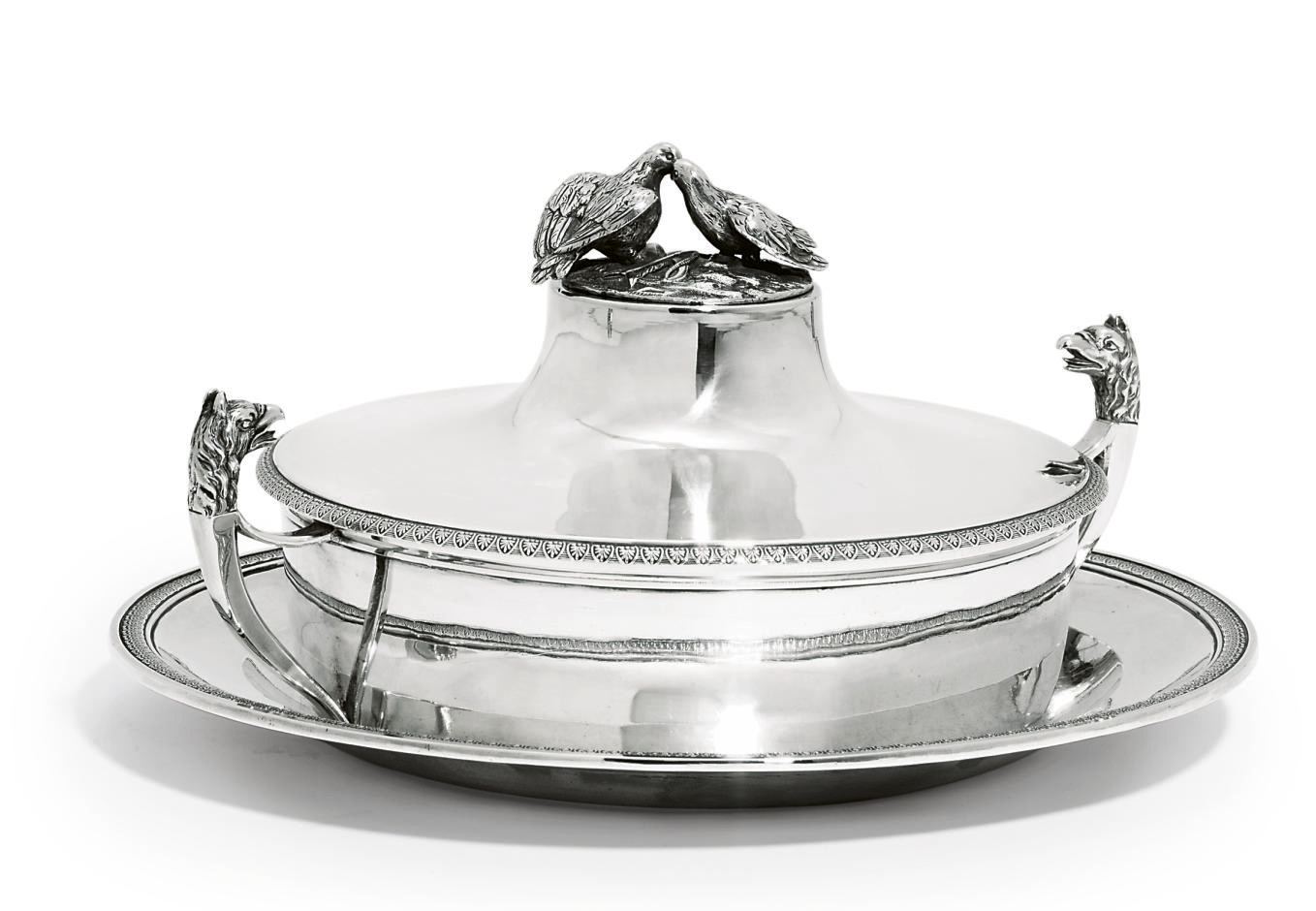 A FRENCH SILVER VEGETABLE-DISH, COVER AND STAND