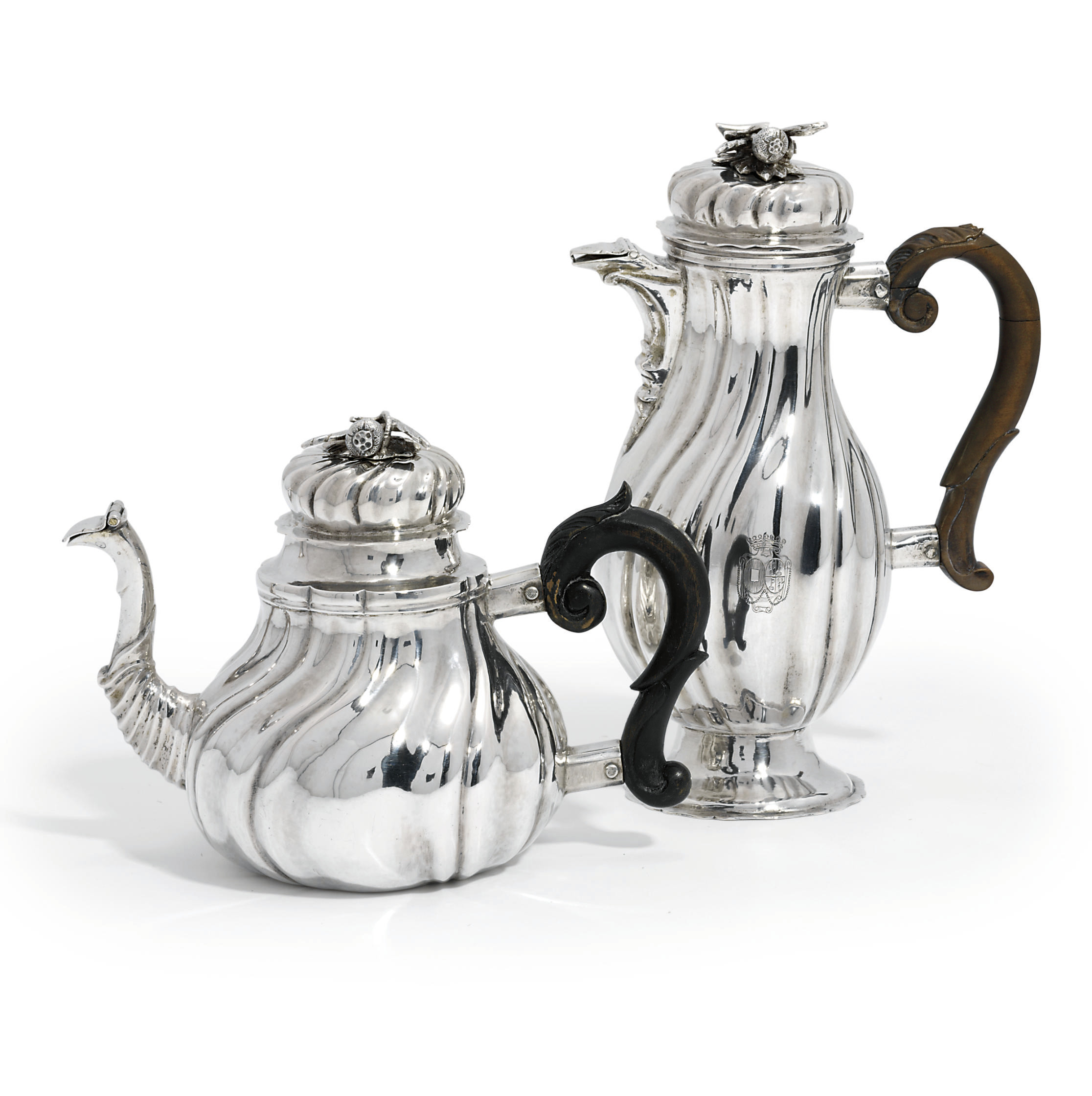 A GERMAN SILVER TEAPOT AND COFFEE-JUG