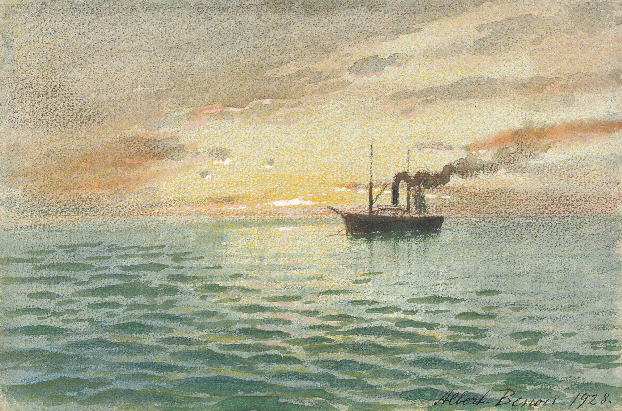 A steamboat at sea