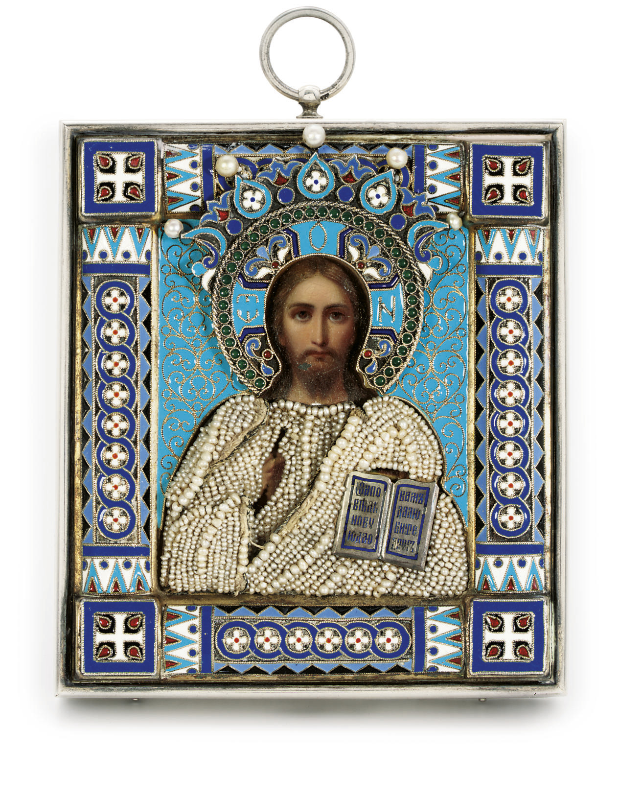 A silver, cloisonné enamel and seed-pearl icon