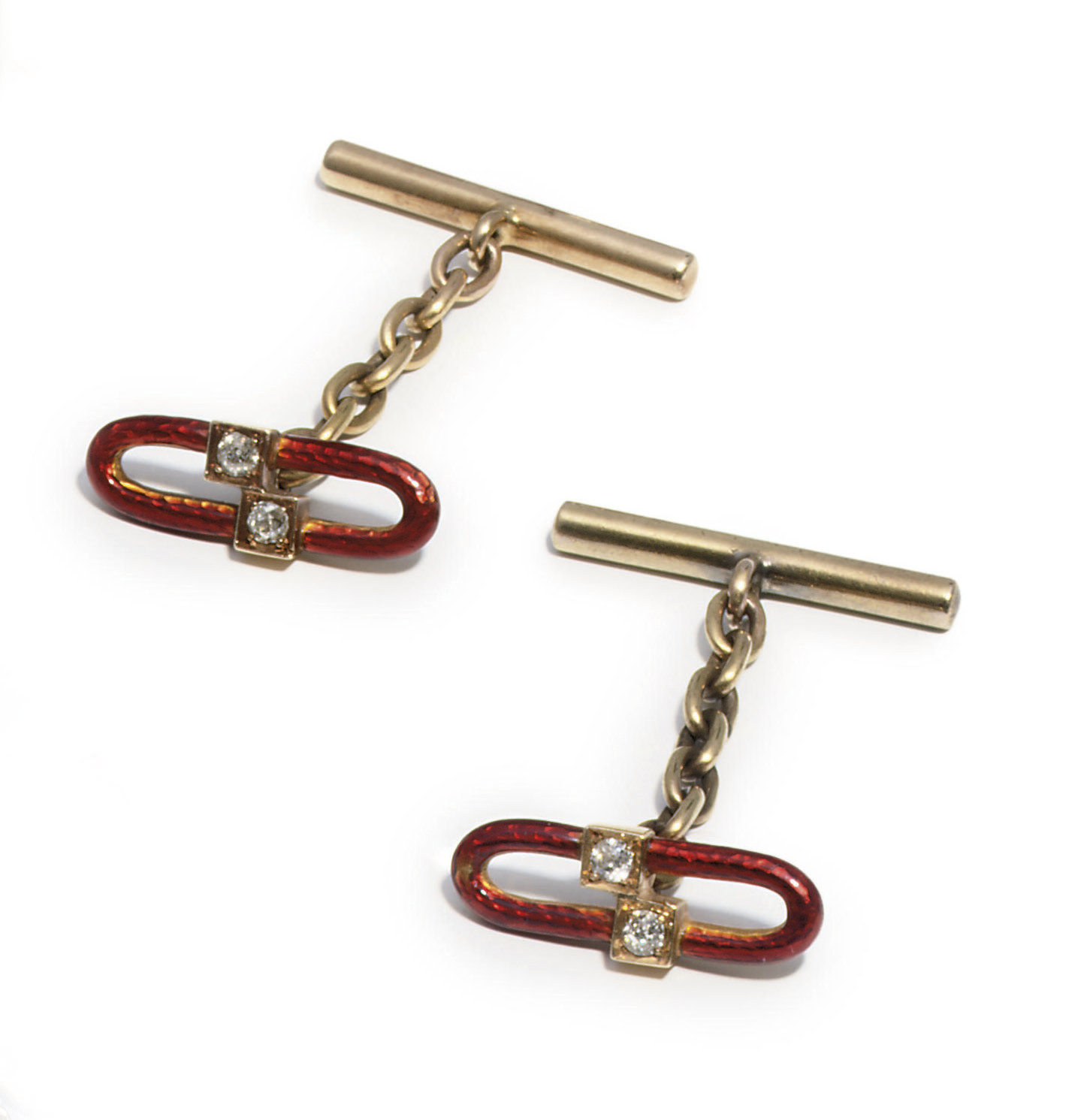 A pair of jewelled and guilloché enamel gold cuff-links