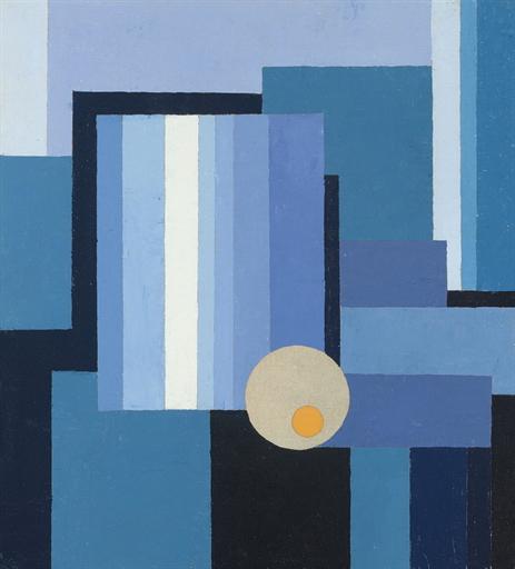 Sonnen-Zeichen vor Blau (recto); Gebirgslandschaft (verso)