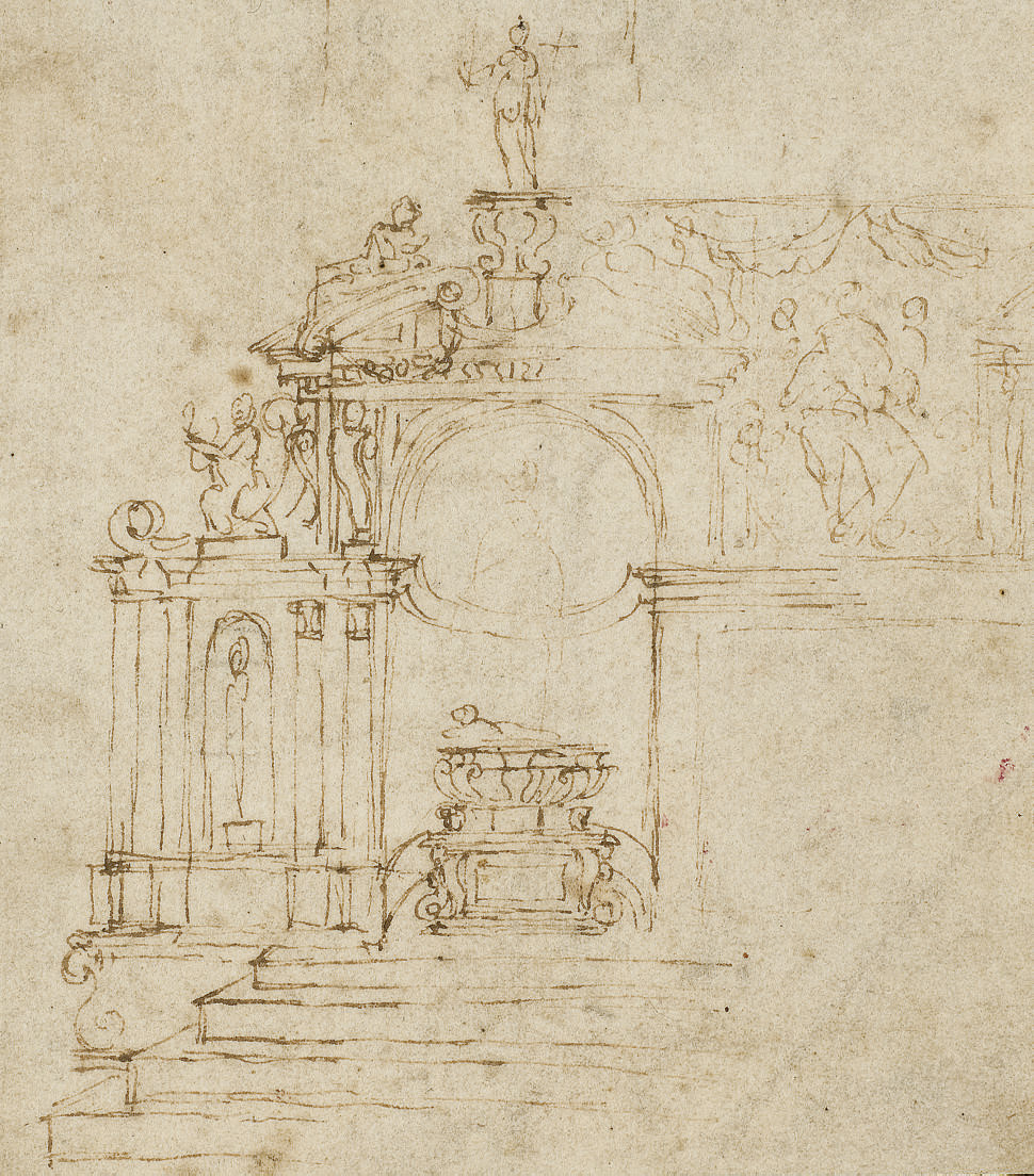 Study of an ornamented chapel with a central tomb
