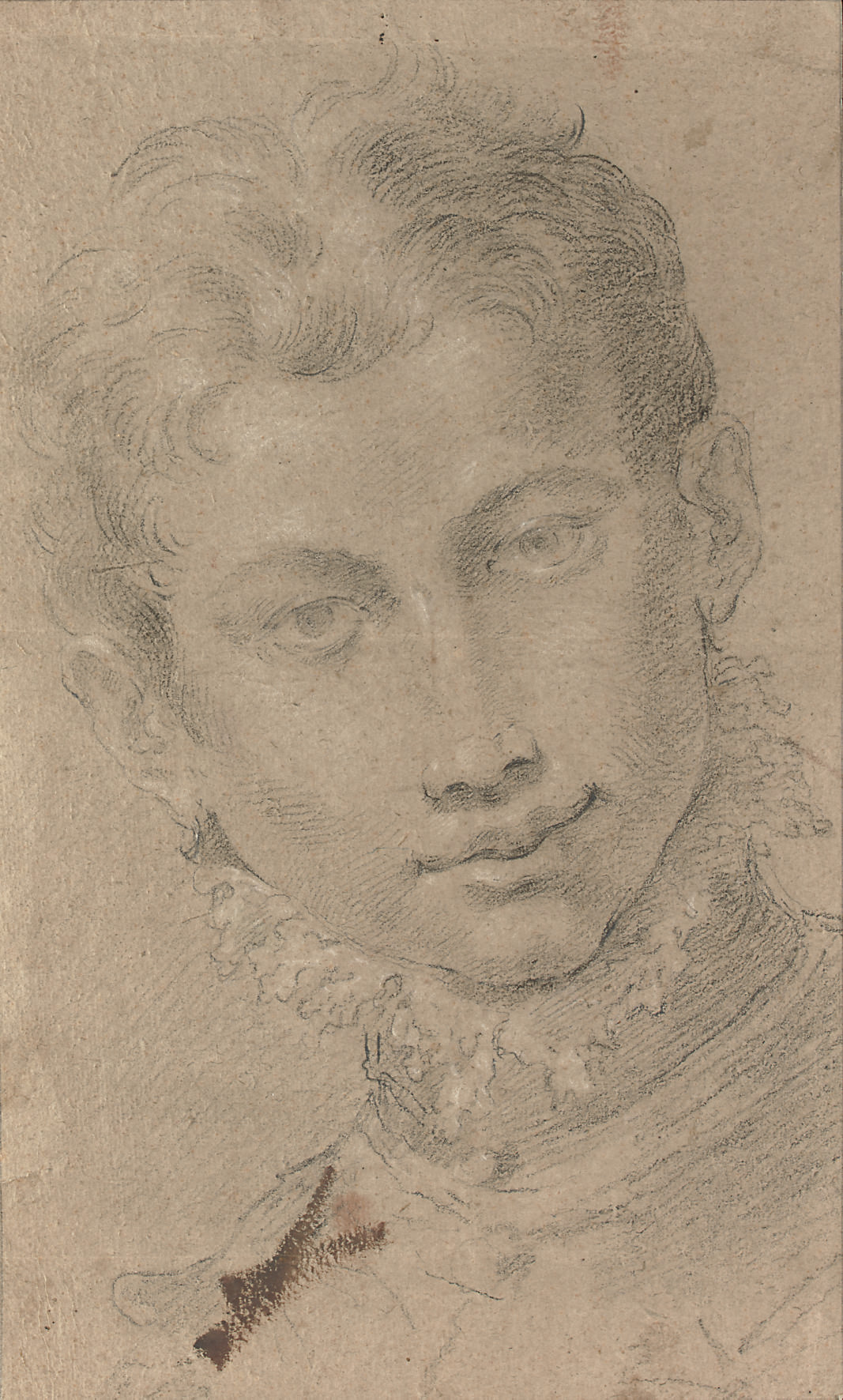 A youth, bust-length, wearing a ruff