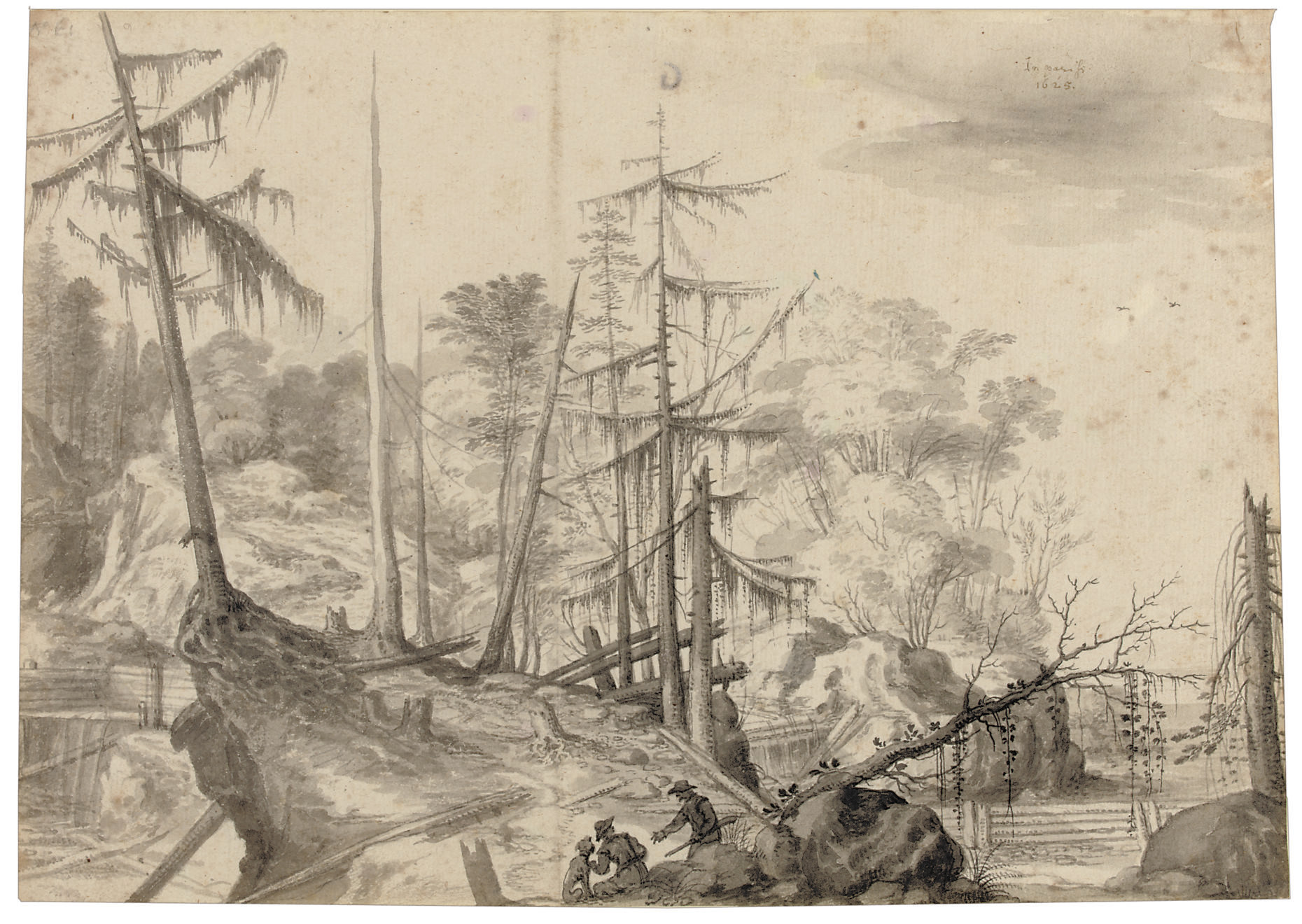 A rocky landscape with two huntsmen and a dog by fallen fir trees