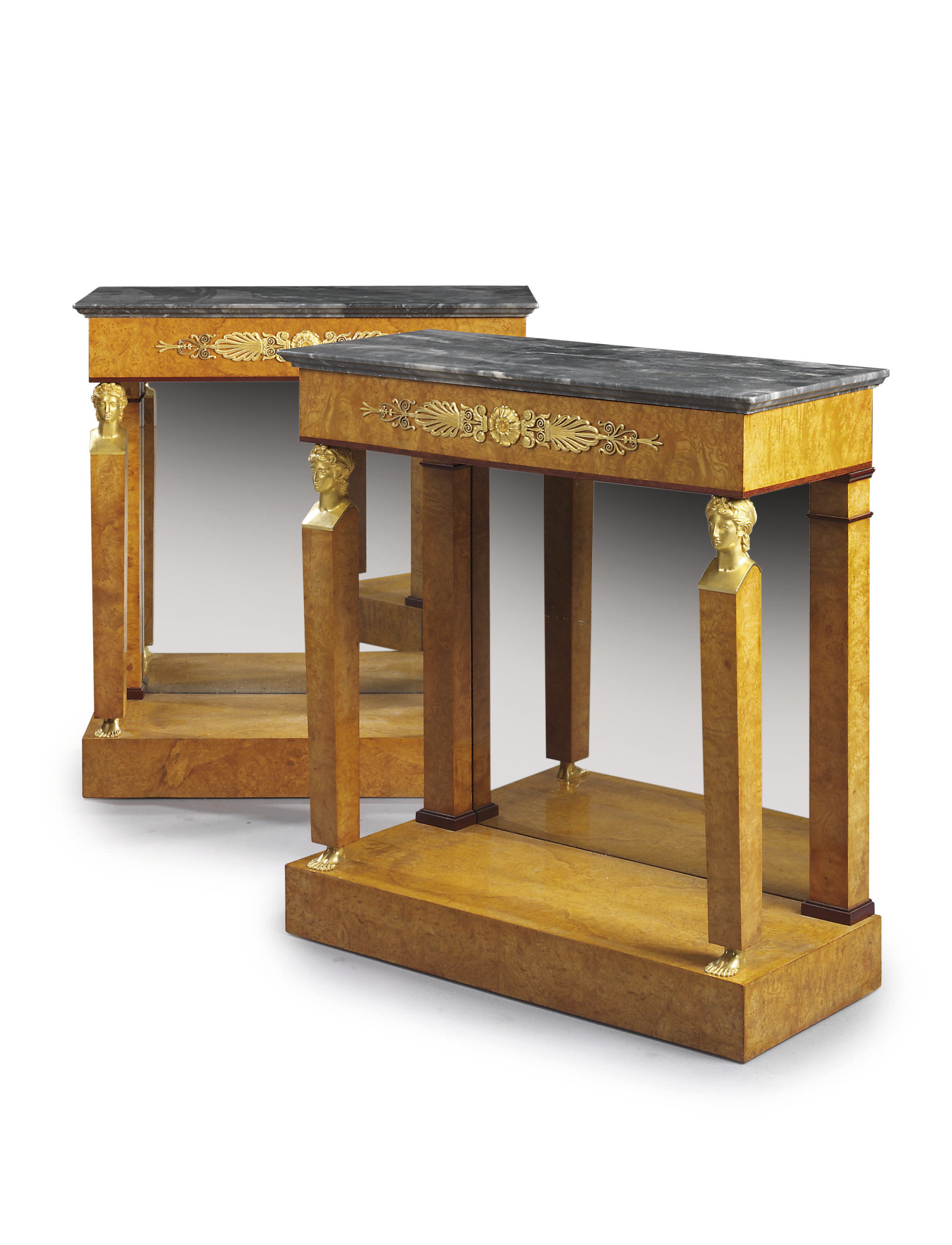 A PAIR OF EMPIRE ORMOLU-MOUNTED BURR-ELM AND AMARANTH CONSOLE TABLES