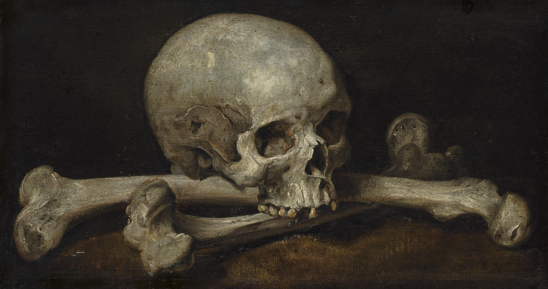 A Memento Mori with a skull and crossbones
