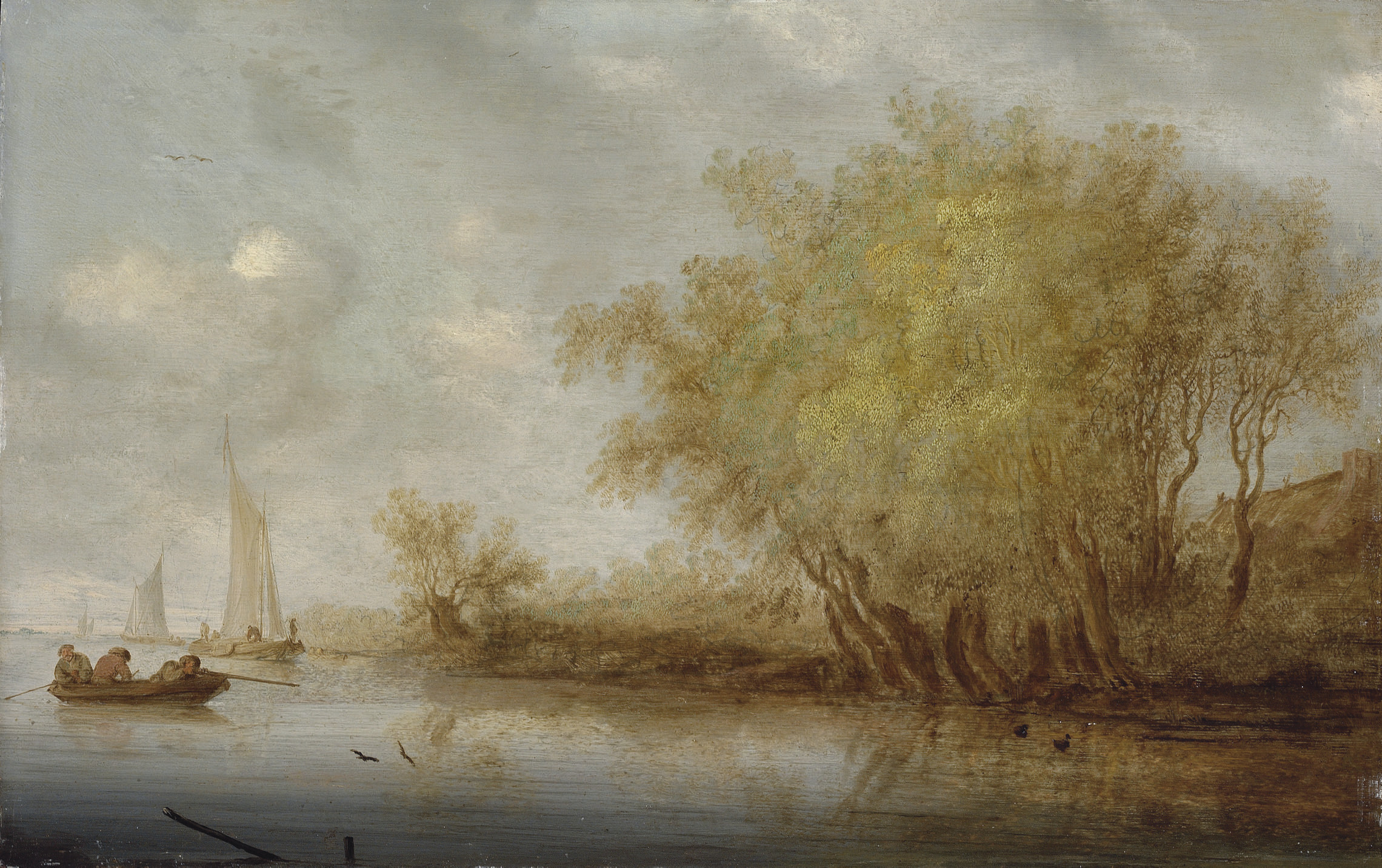 A river landscape with sportsmen shooting duck from a boat