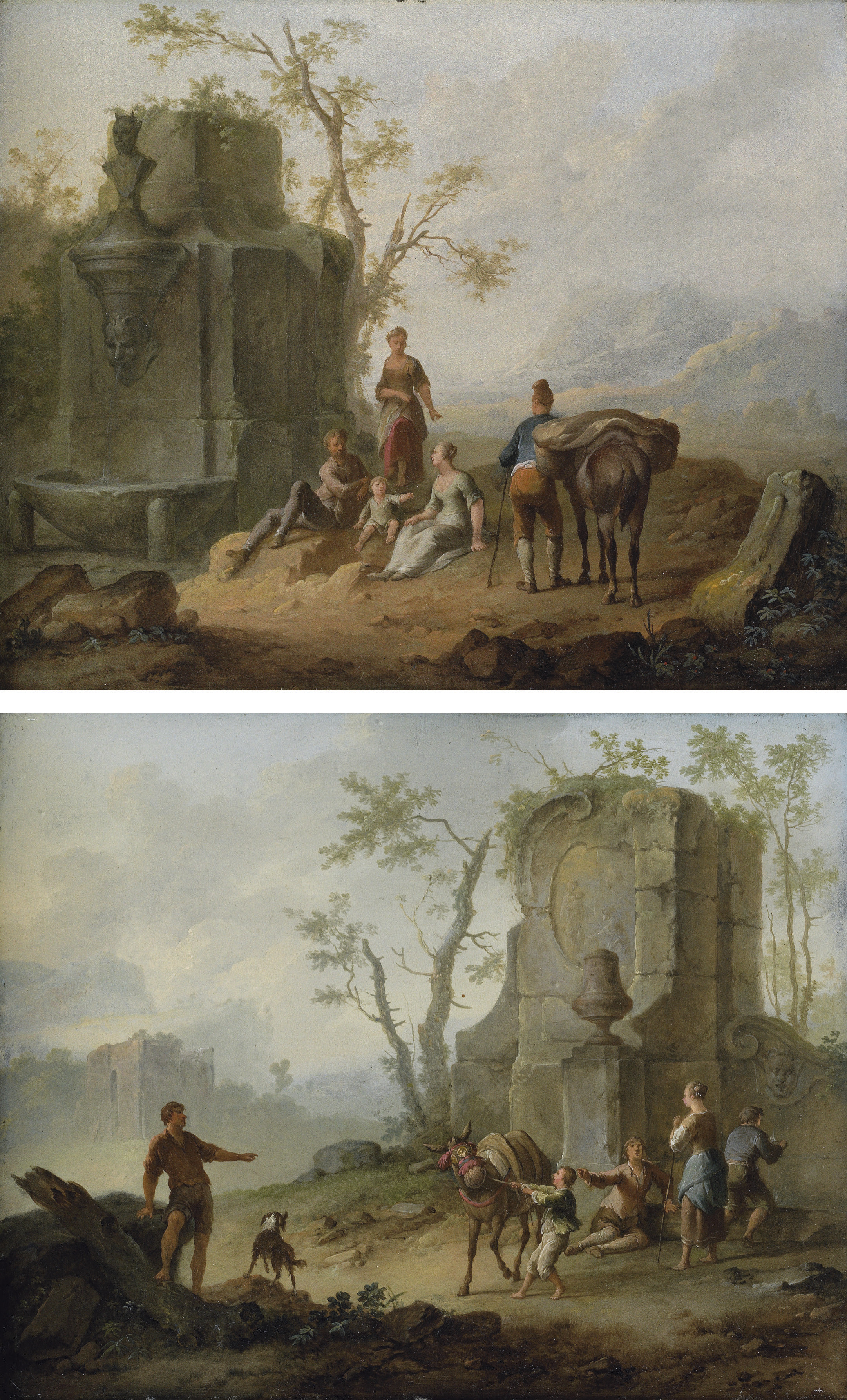 A classical landscape with a family resting by the ruins of a fountain, a man with a pack-donkey passing by; and A classical landscape with a family resting by the ruins, a boy struggling with an obstinate pack mule