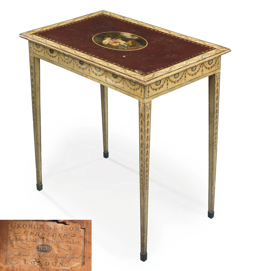 A GEORGE III POLYCHROME-DECORATED CENTRE TABLE