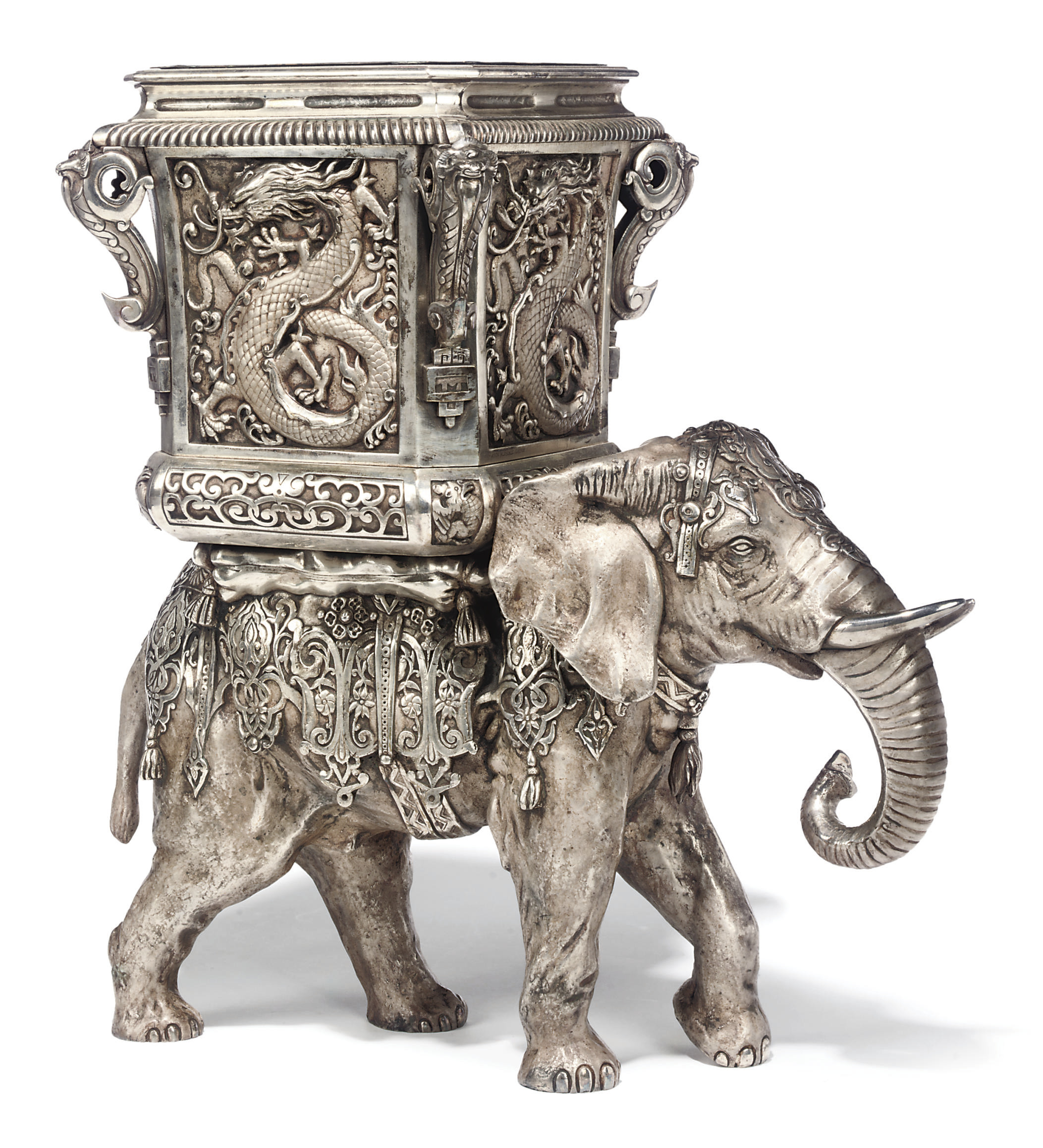 A NAPOLEON III SILVERED BRONZE AND ELECTRO-PLATED JARDINIERE