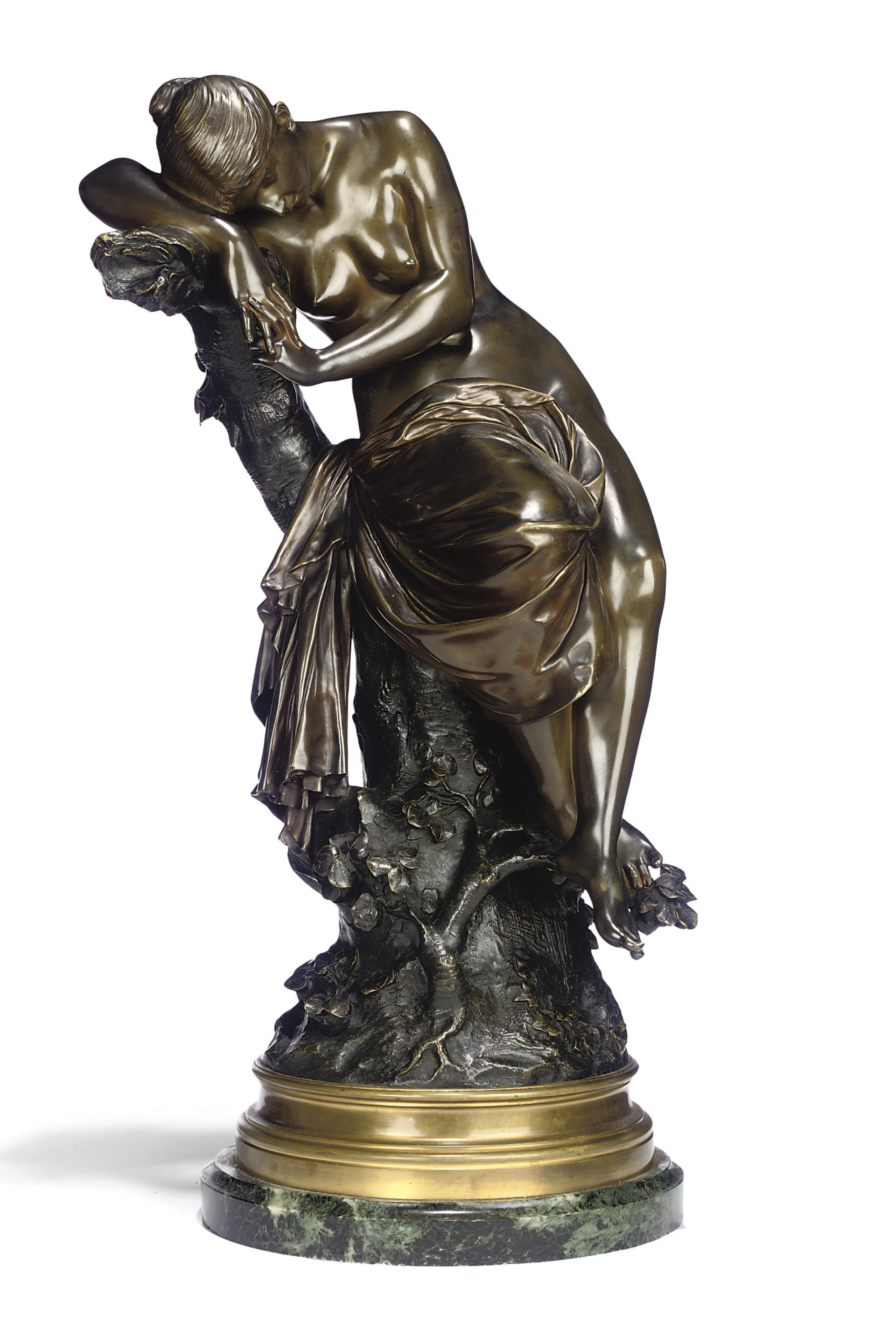 A FRENCH BRONZE FIGURE OF A SLEEPING NYMPH