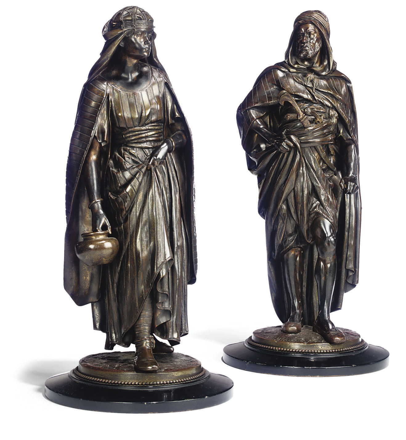 A PAIR OF FRENCH BRONZE FIGURES ENTITLED 'LA PORTEUSE' AND 'LE GUERRIER ARABE'